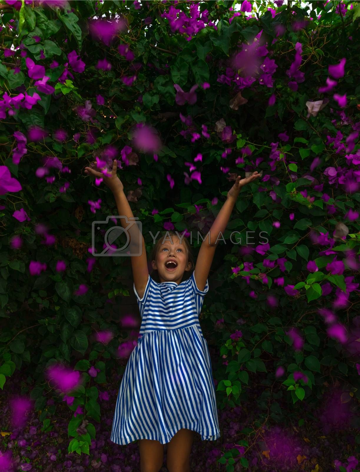 Cute Cheerful Little Girl with Raised Up Hands Enjoying Great Fresh Floral Bush. Floral Garden with Many Purple Flowers. Happy Healthy Childhood.