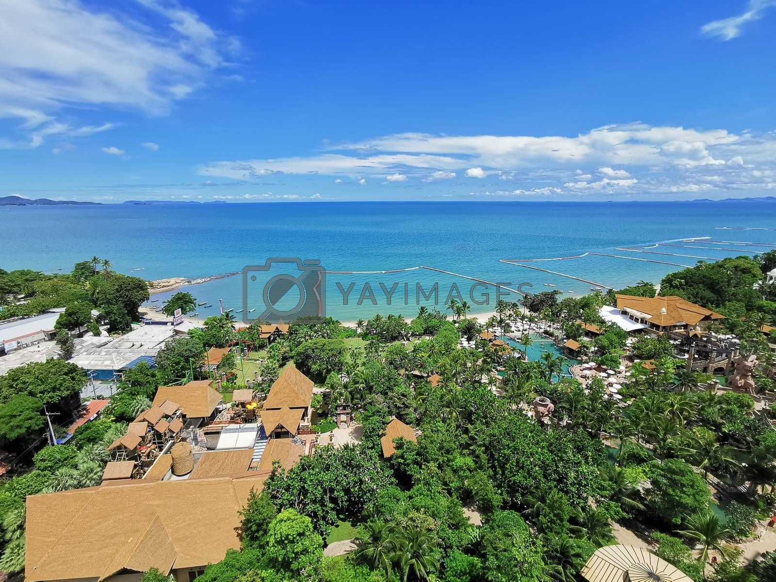 The landscape of beach and Sea view for vacation and summer from high hotel view with blue sky in the morning.