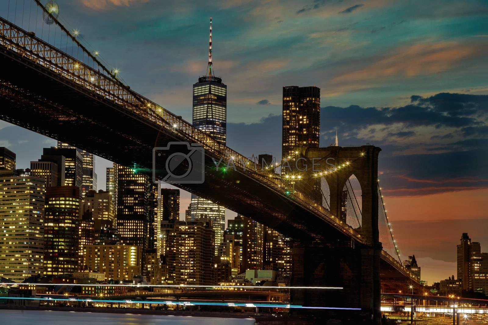 Brooklyn Bridge at sunset New York City Manhattan after sunset beautiful panorama cityscape USA