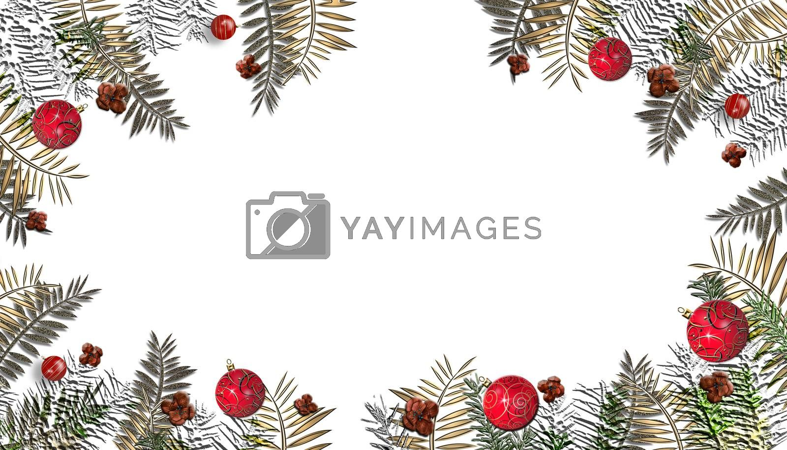 Christmas white background with red gold decoration. Merry Christmas and Happy Holidays white greeting card. Flat lay, top view. Place for text. 3D illustration