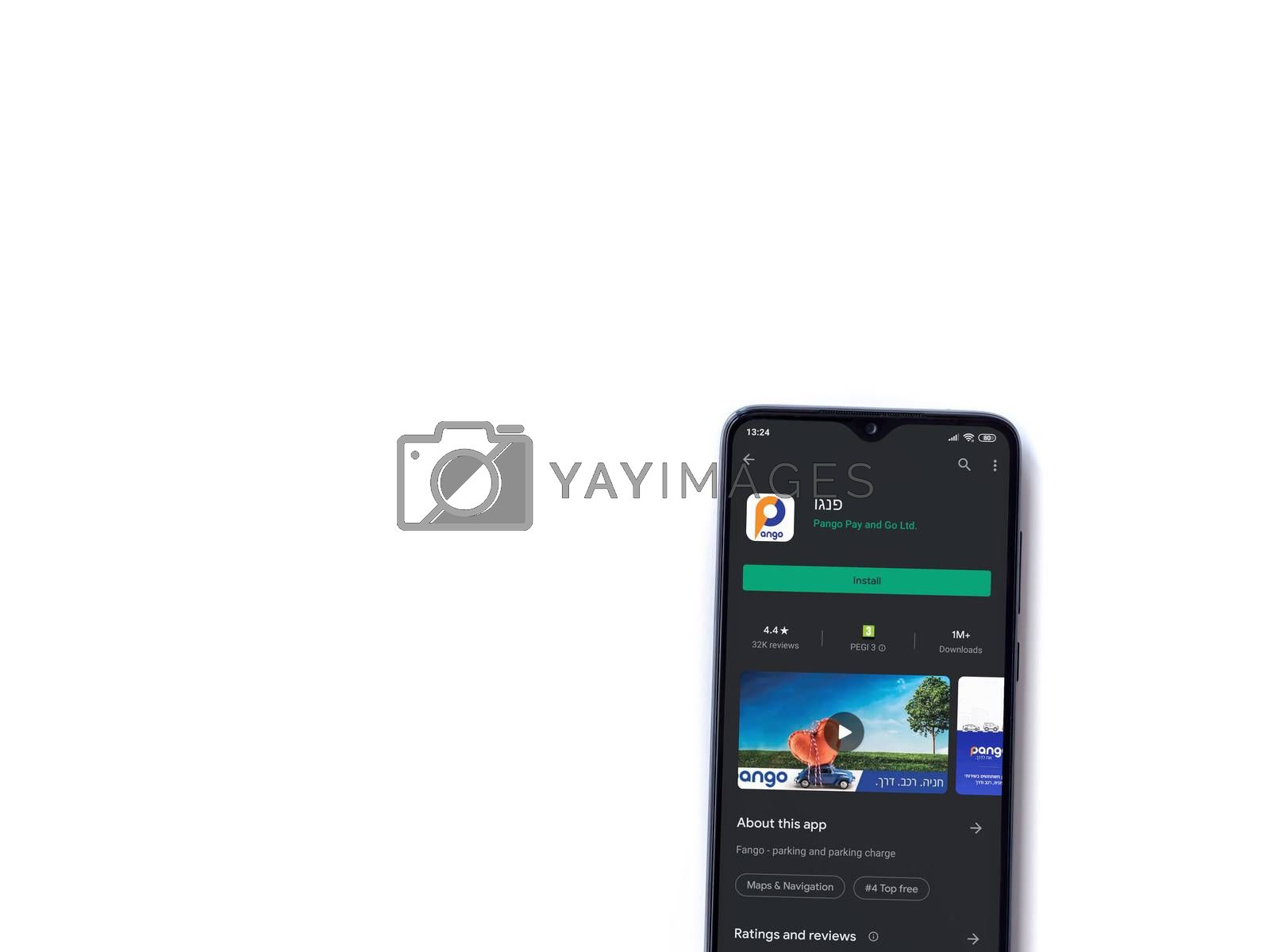 Lod, Israel - July 8, 2020: Pango app play store page on the display of a black mobile smartphone isolated on white background. Top view flat lay with copy space.
