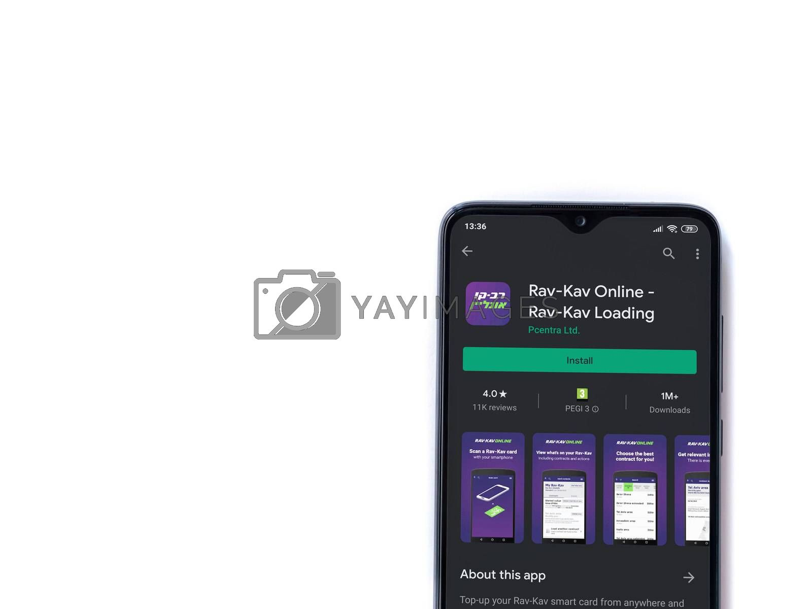 Lod, Israel - July 8, 2020: Rav Kav Online app play store page on the display of a black mobile smartphone isolated on white background. Top view flat lay with copy space.