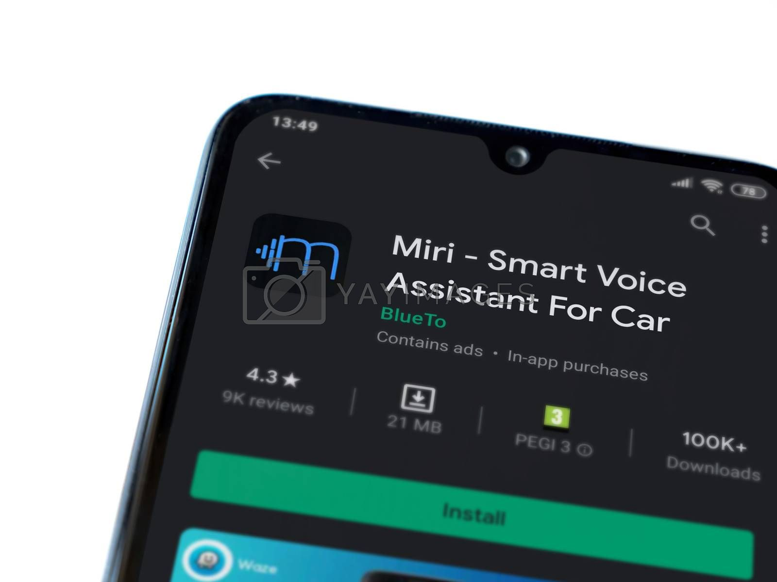 Lod, Israel - July 8, 2020: Miri app play store page on the display of a black mobile smartphone isolated on white background. Top view flat lay with copy space.