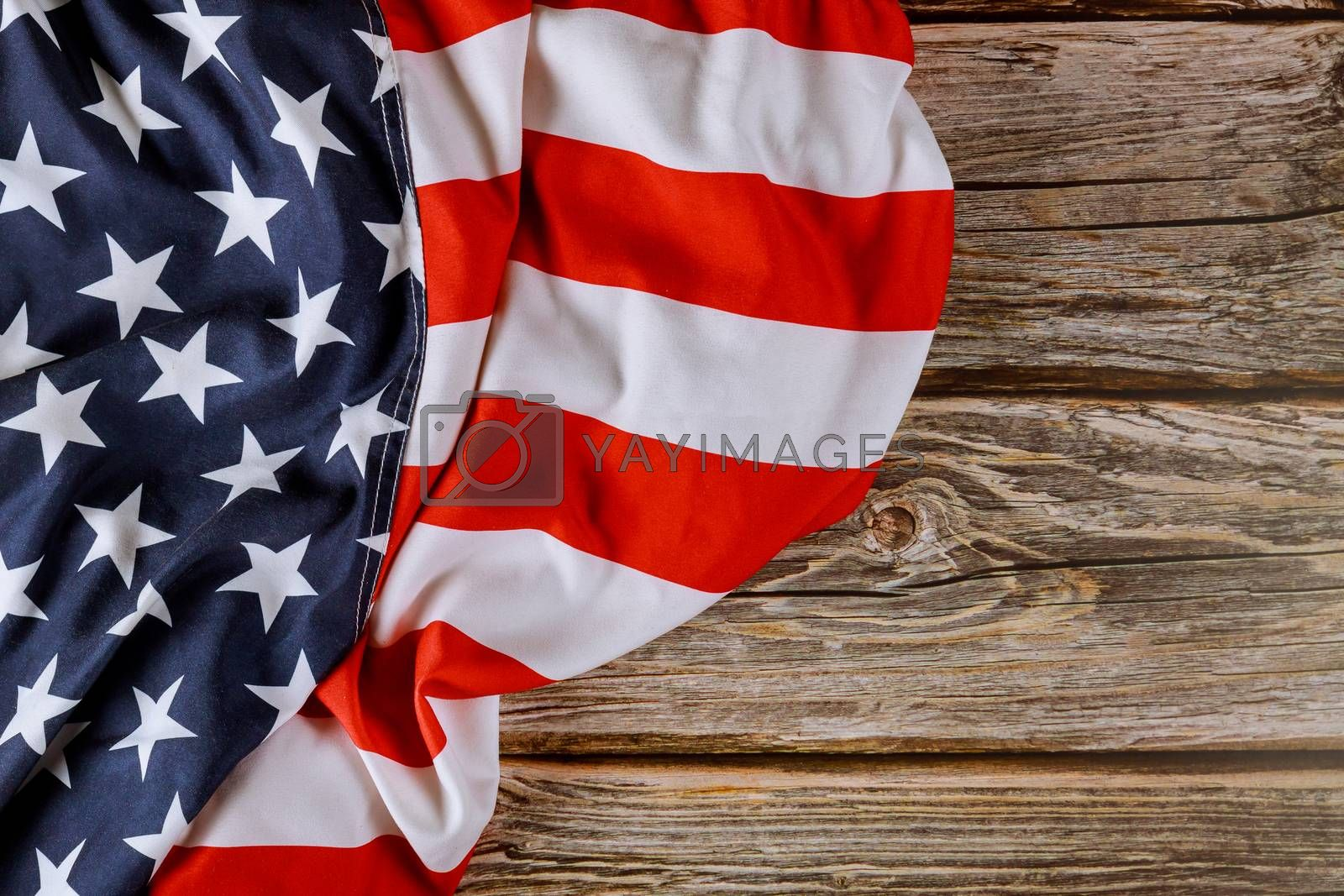 USA national holidays American flag on wooden background Memorial day