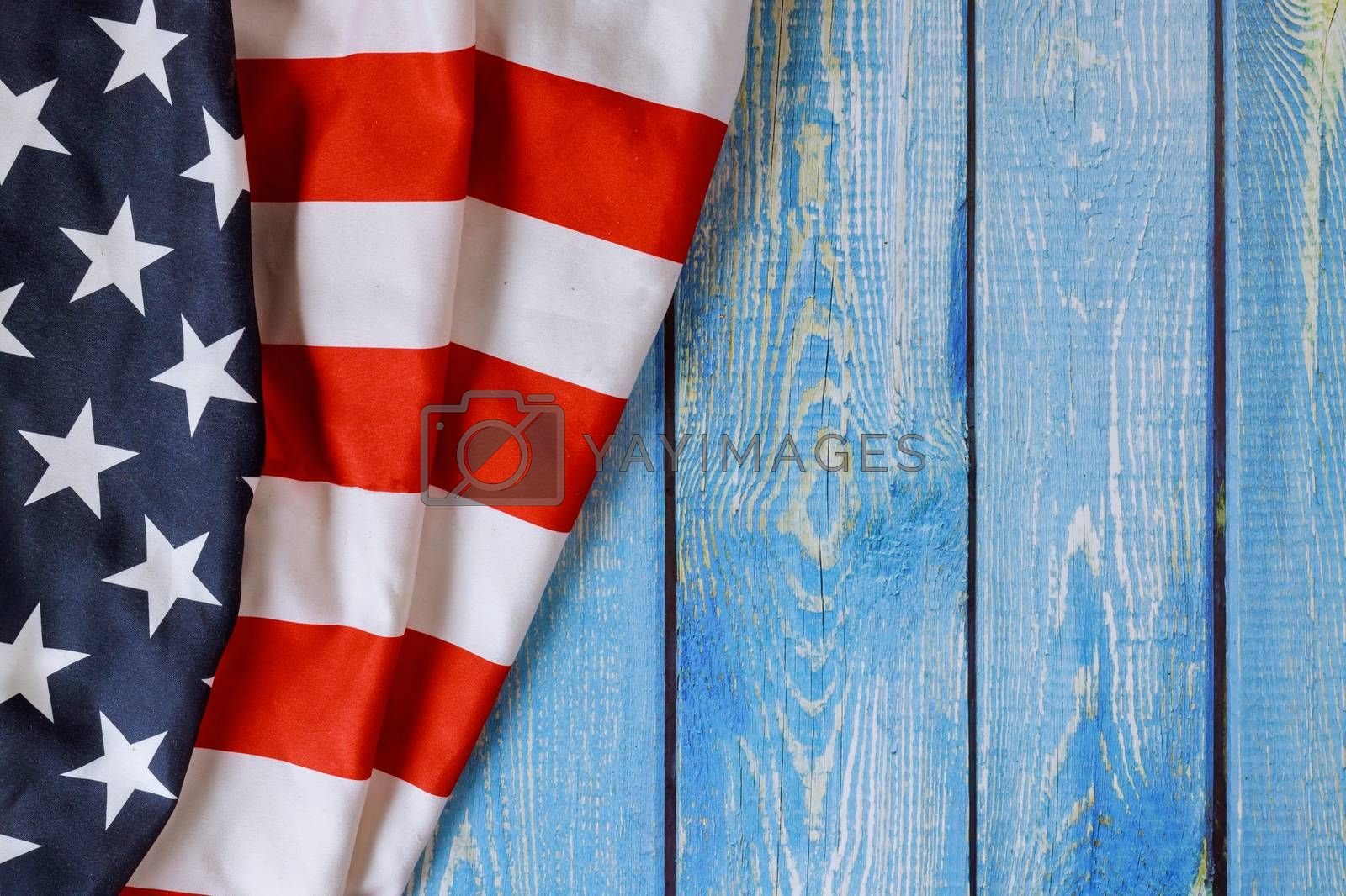 American flag symbol celebrating United States America holiday with veterans day Memorial Day Labor Day Independence day on old wood background