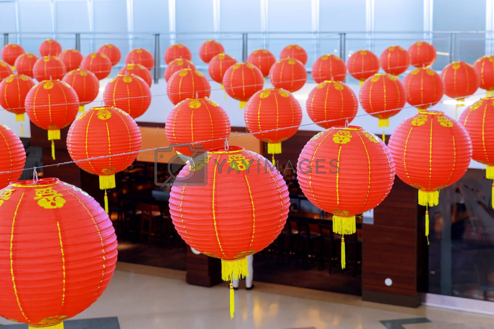 Decorated colorful red Chinese lanterns shine for New Year,