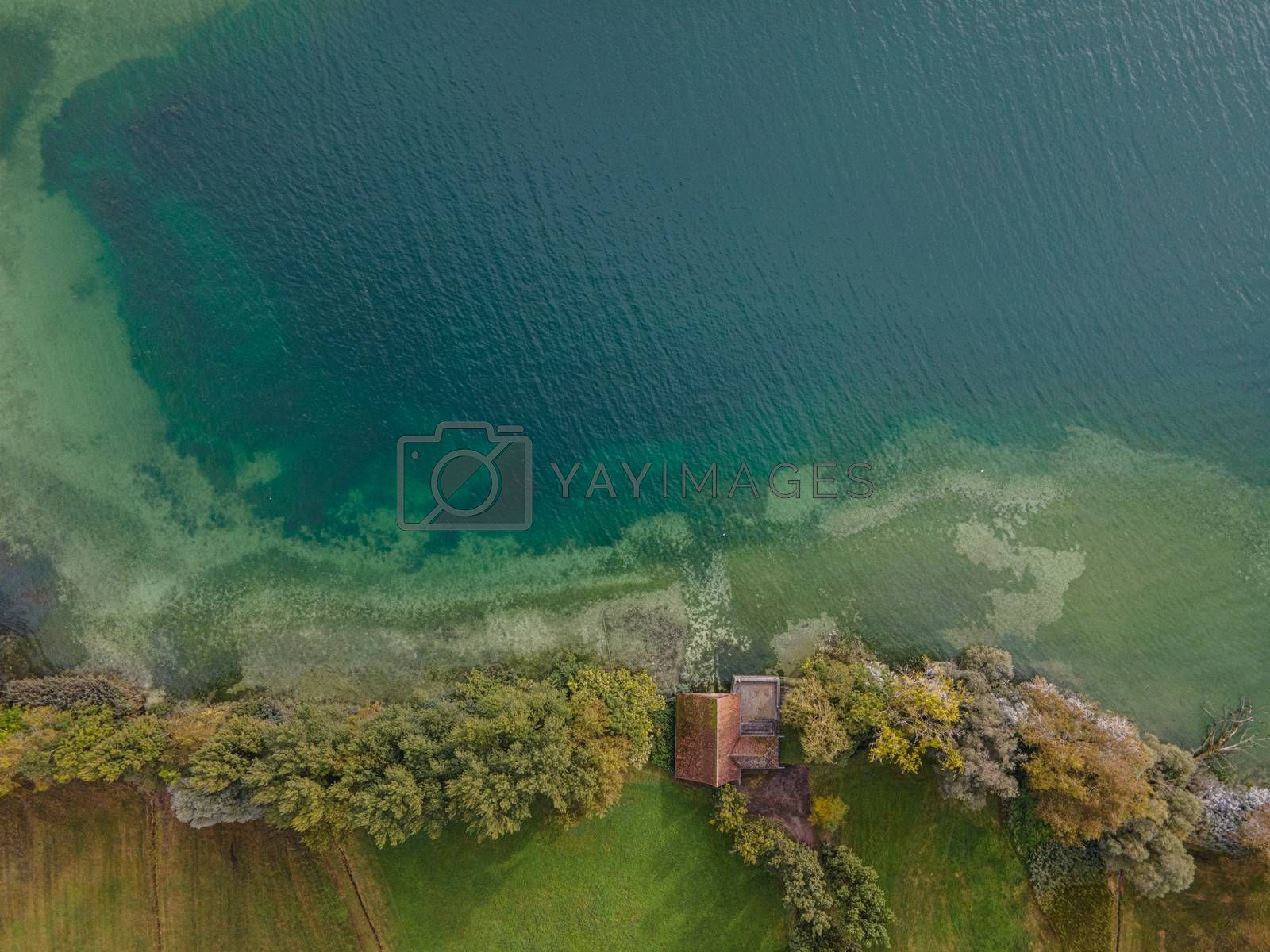 Drone shot over water. Background of lake. Birds view
