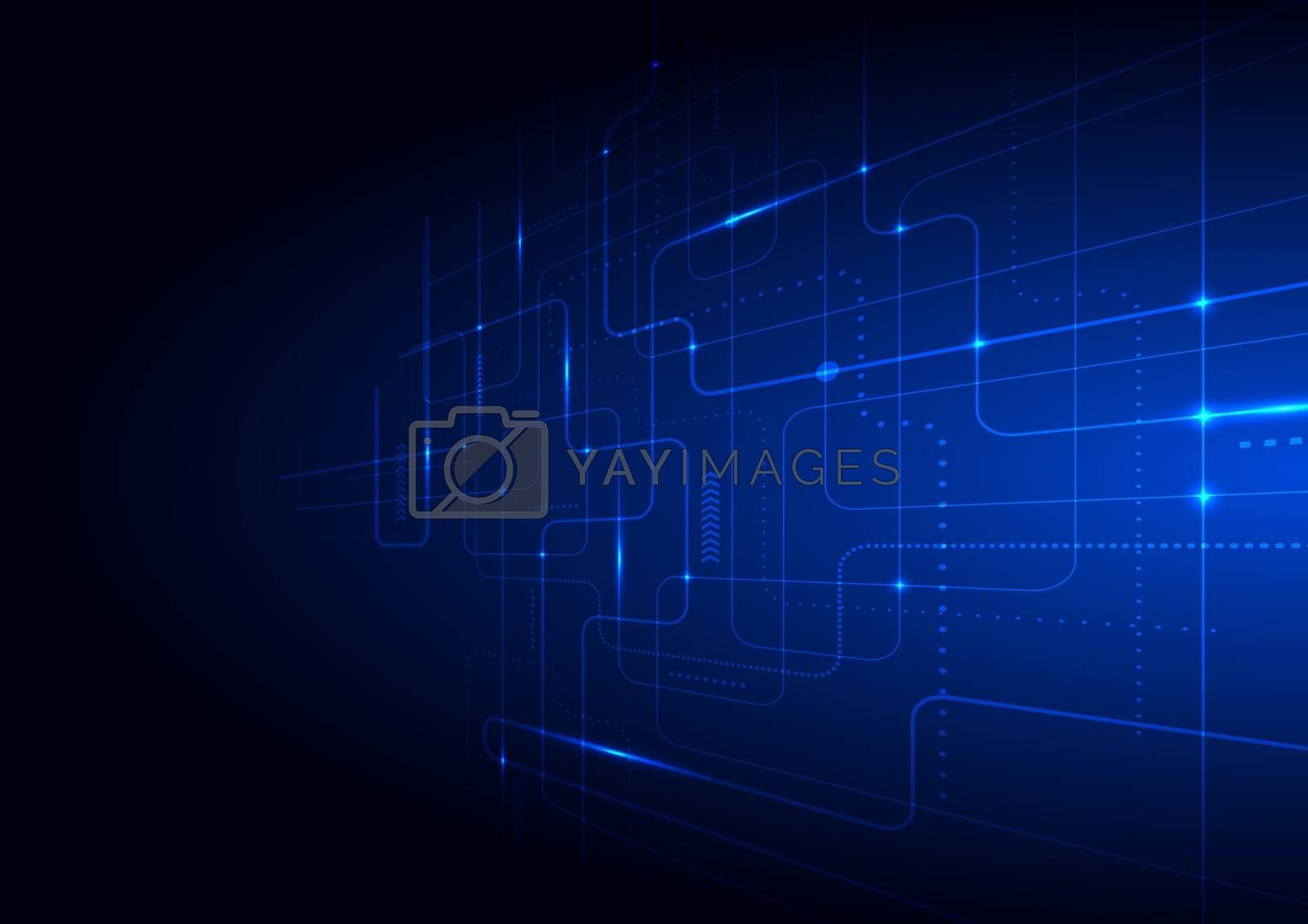 Abstract technology futuristic concept glowing blue lines and lighting perspective on dark background. Vector illustration