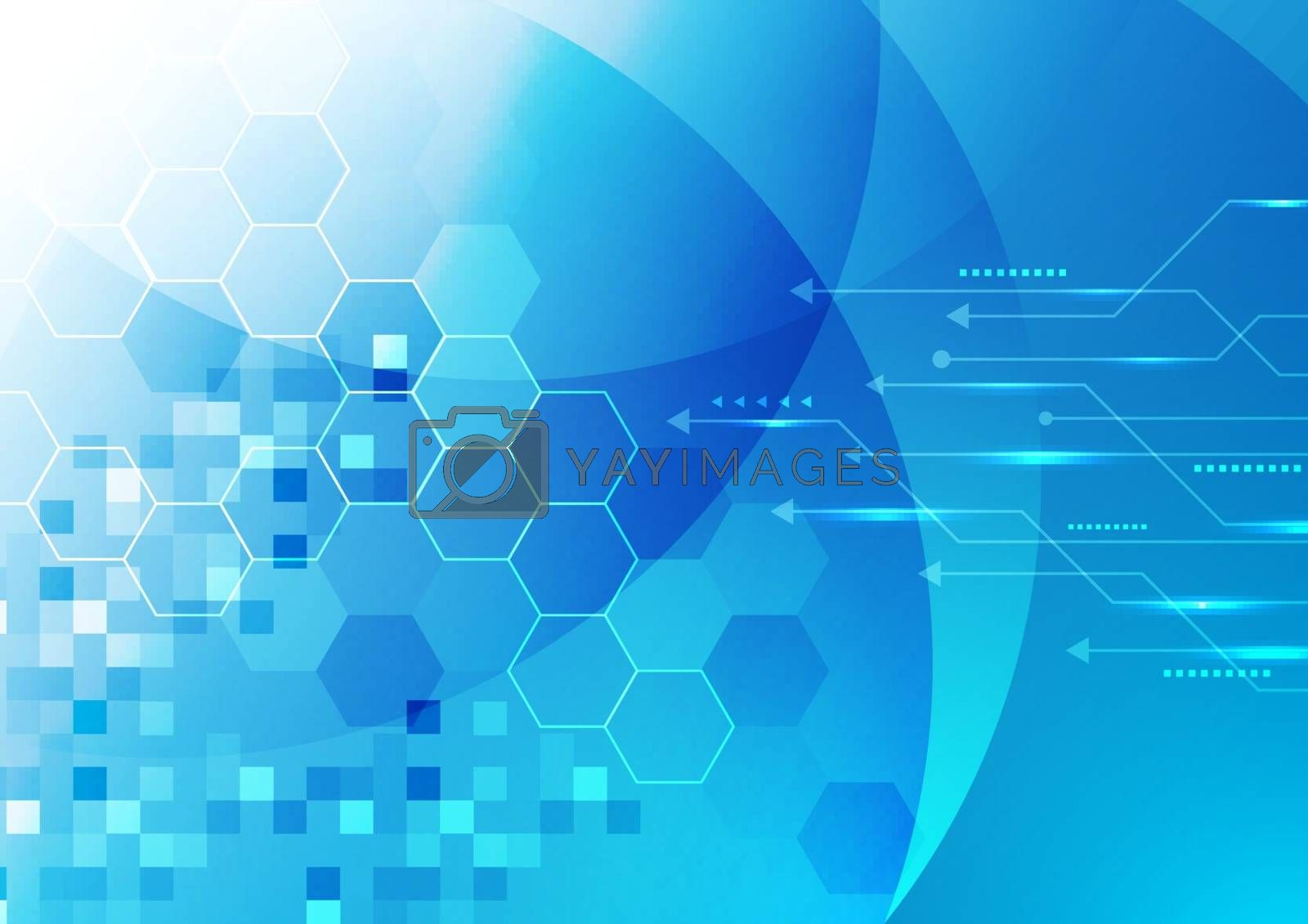 Abstract technology digital futuristic concept glowing blue geometric hexagons with line arrow background. Vector illustration