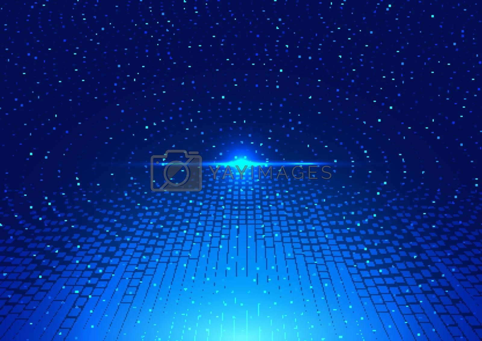 Abstract technology futuristic digital concept lighting effect glowing particles dots elements circle on dark blue background. Big data. Vector illustration