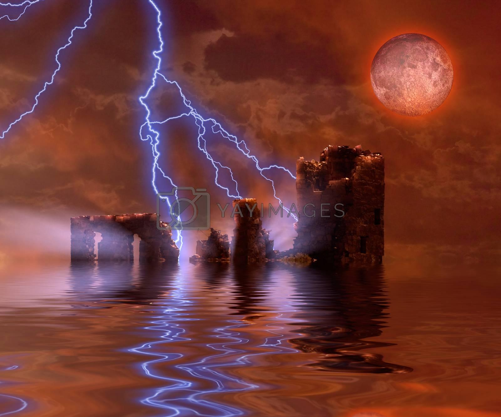 Castle under red moon. 3D rendering
