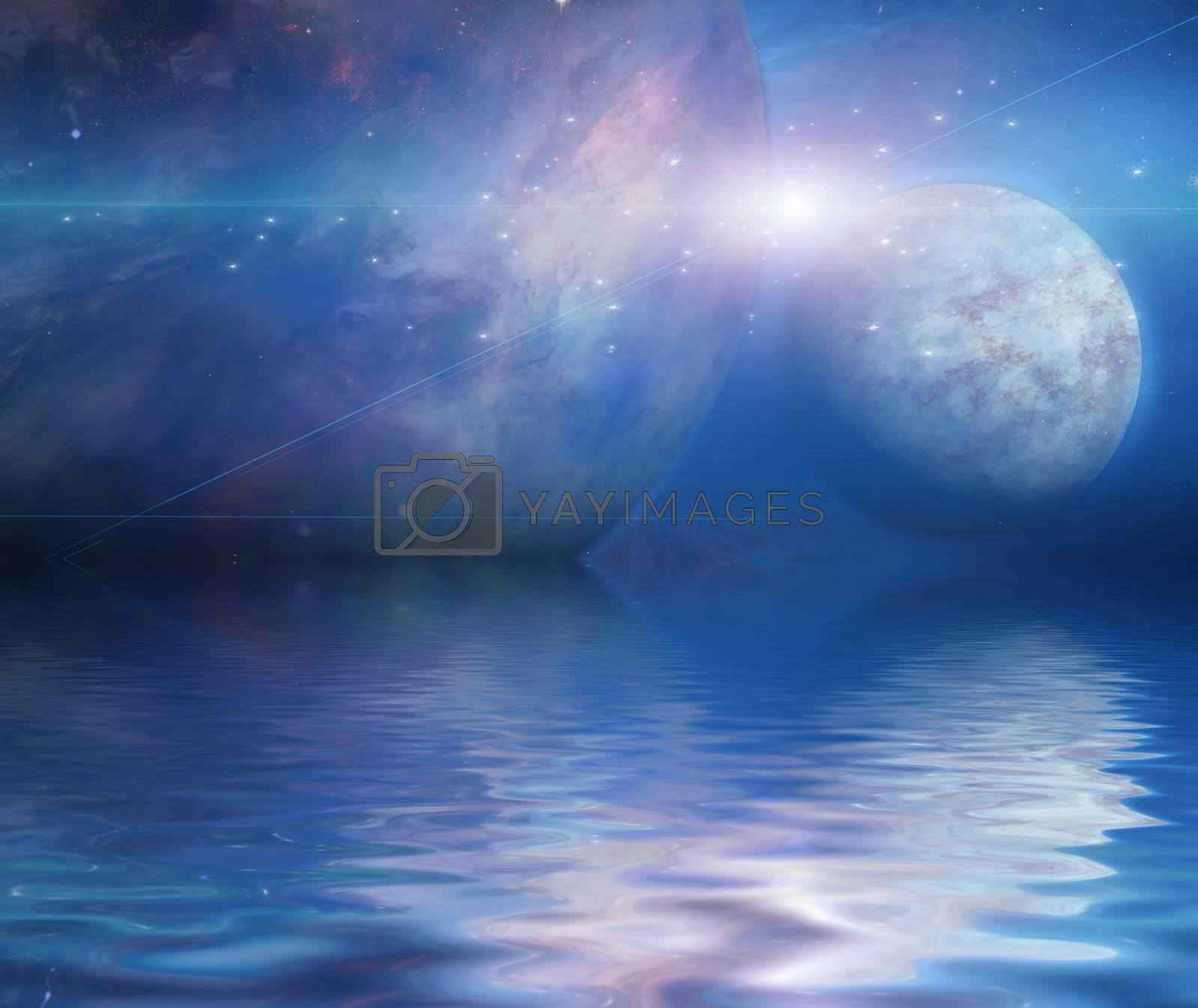 Waters reflection and Planets. 3D rendering