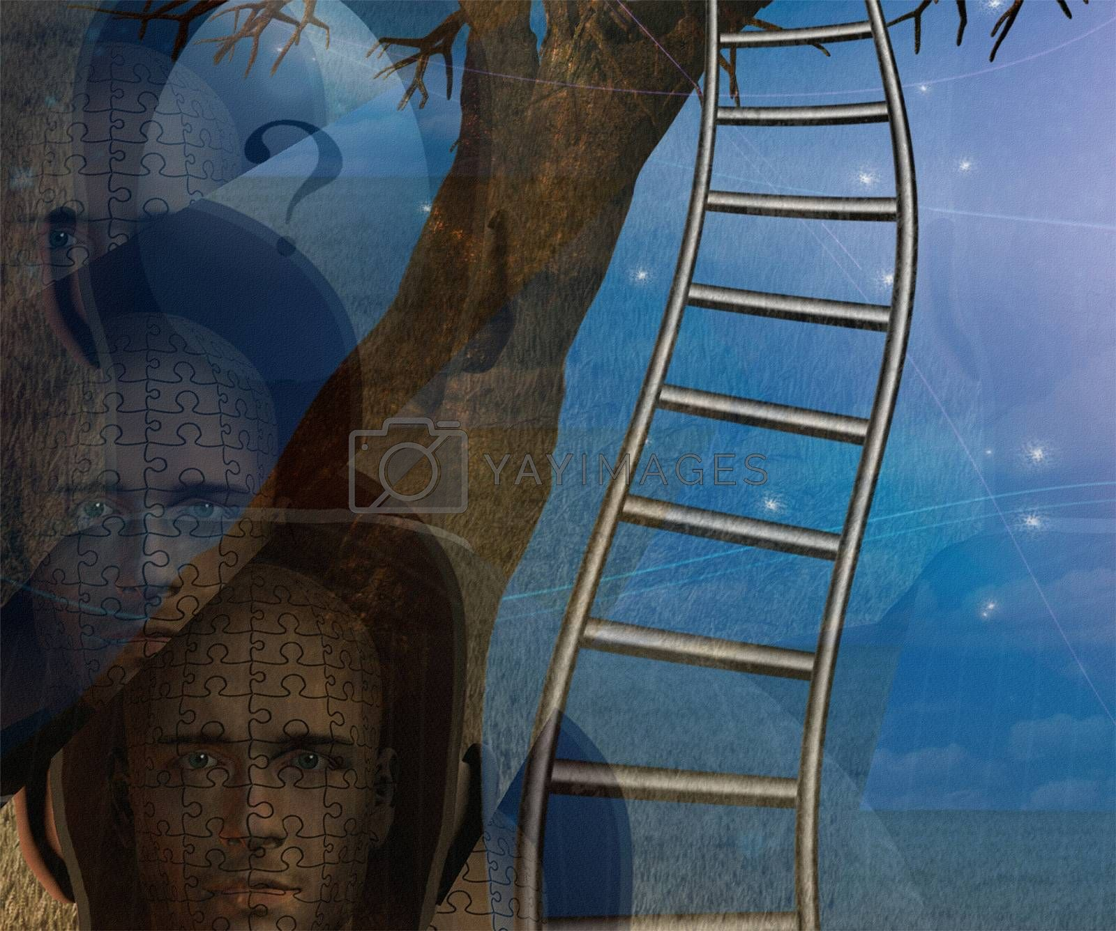 Human faces and twisted ladder. 3D rendering