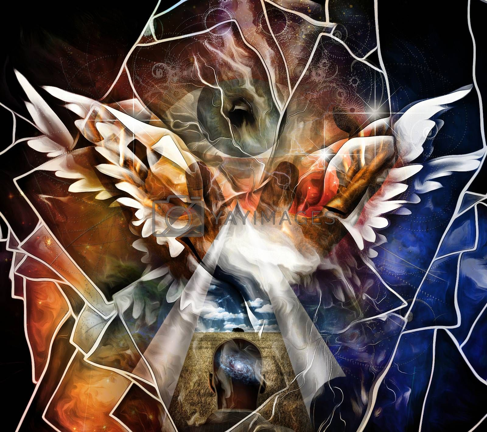 Holy Wings. Abstract painting. 3D rendering
