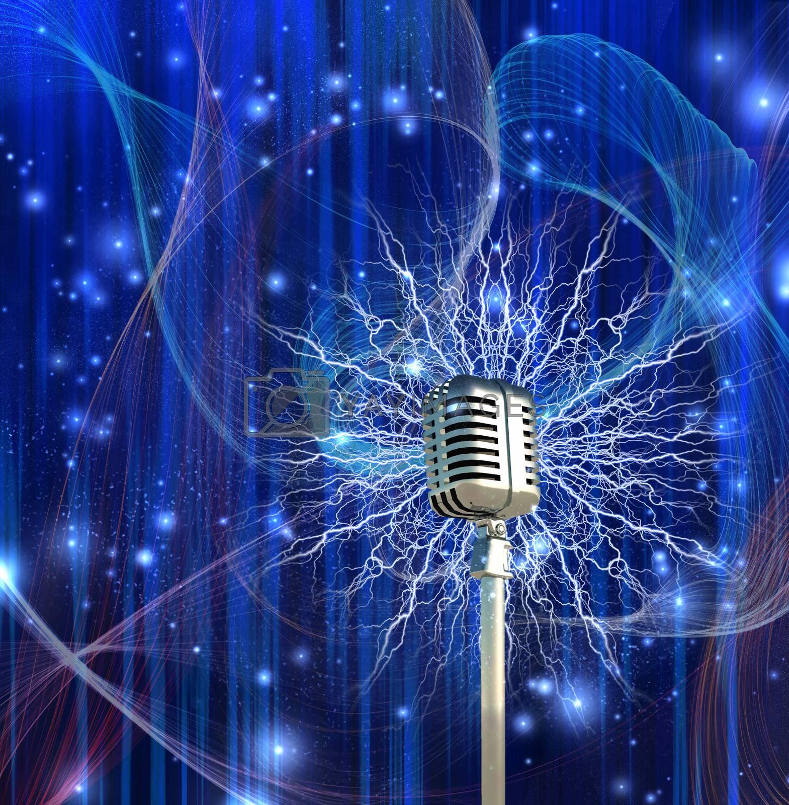 Vintage microphone and lightnings. 3D rendering