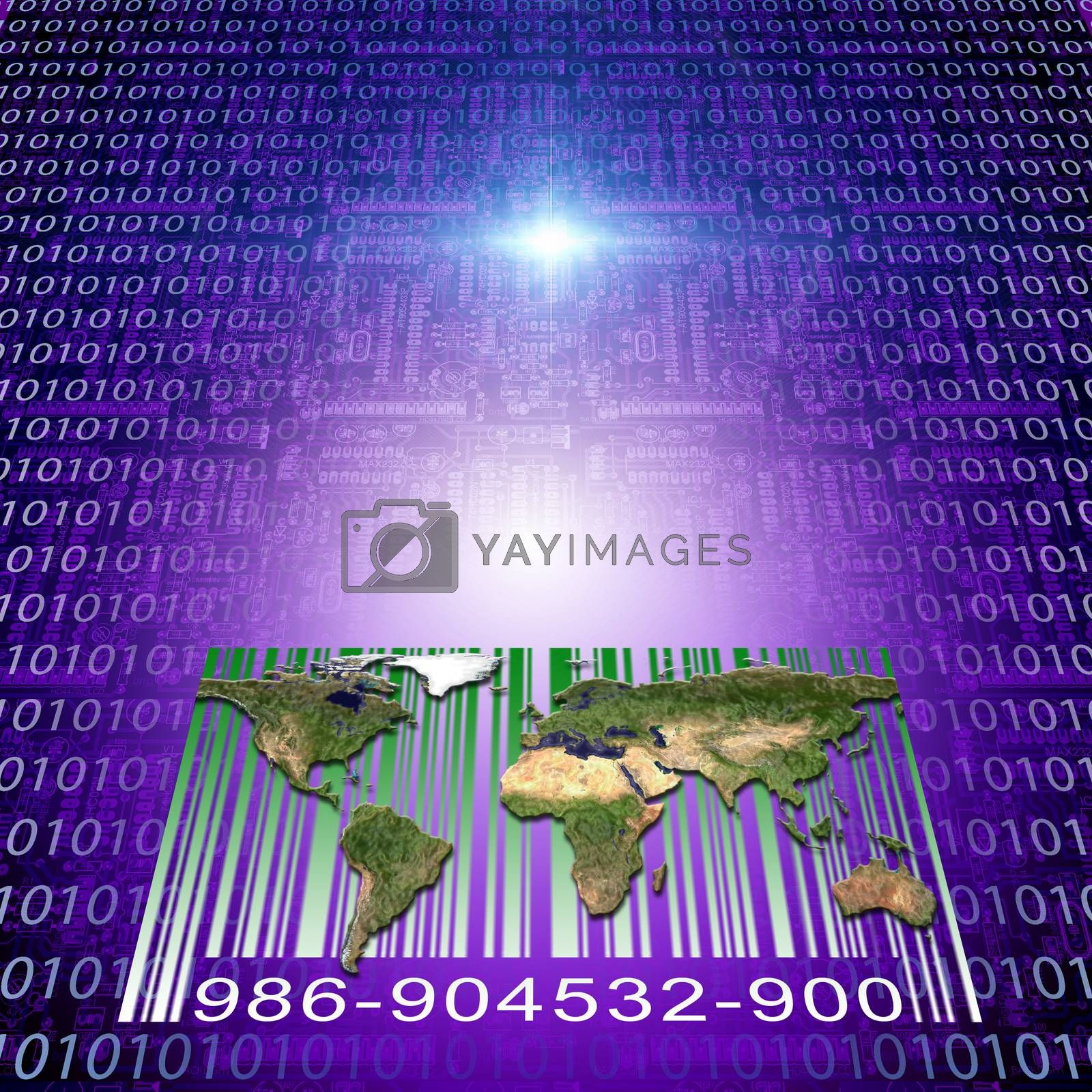 Modern digital world. Binary code and electronic circuits. 3D rendering