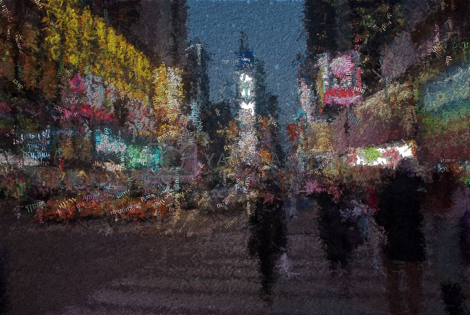 Time square. New York. Image composed entirely of words. 3D rendering