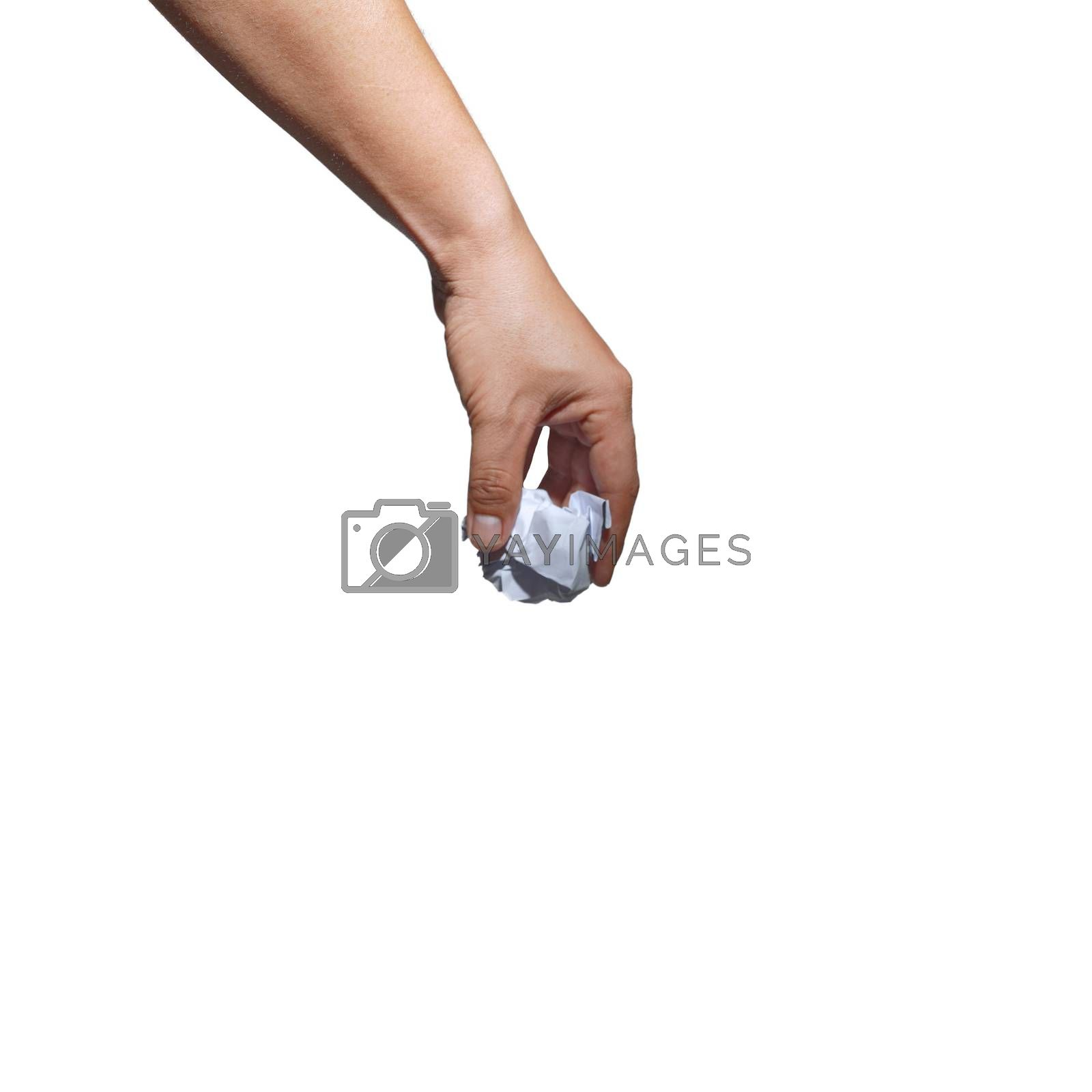 Abstract Environmental Protection Hand Left Office Waste Paper Isolated White Background.