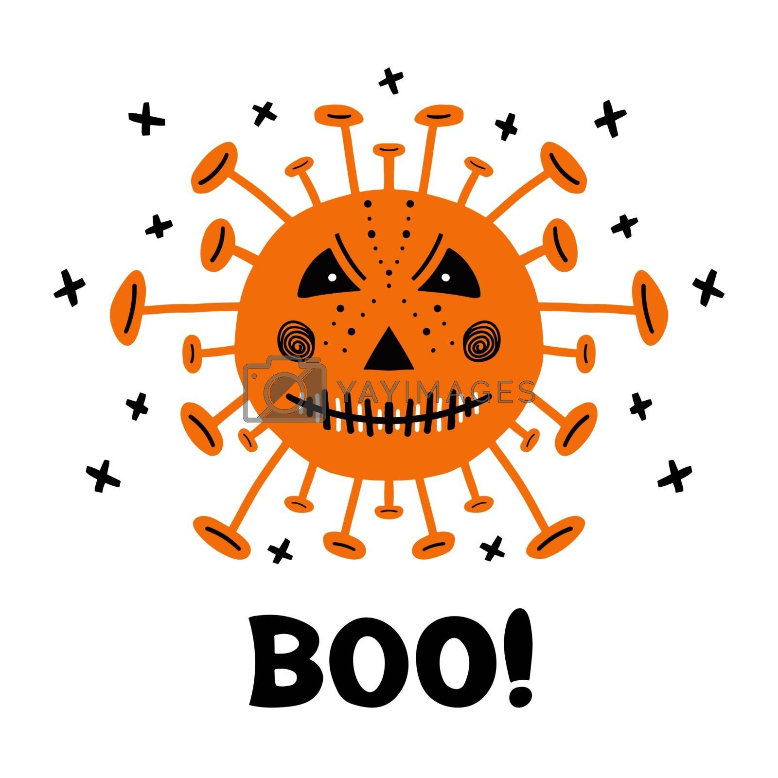 Halloween hand drawn coronavirus bacteria with scary face and boo word. Isolated on white. Vector stock illustration.