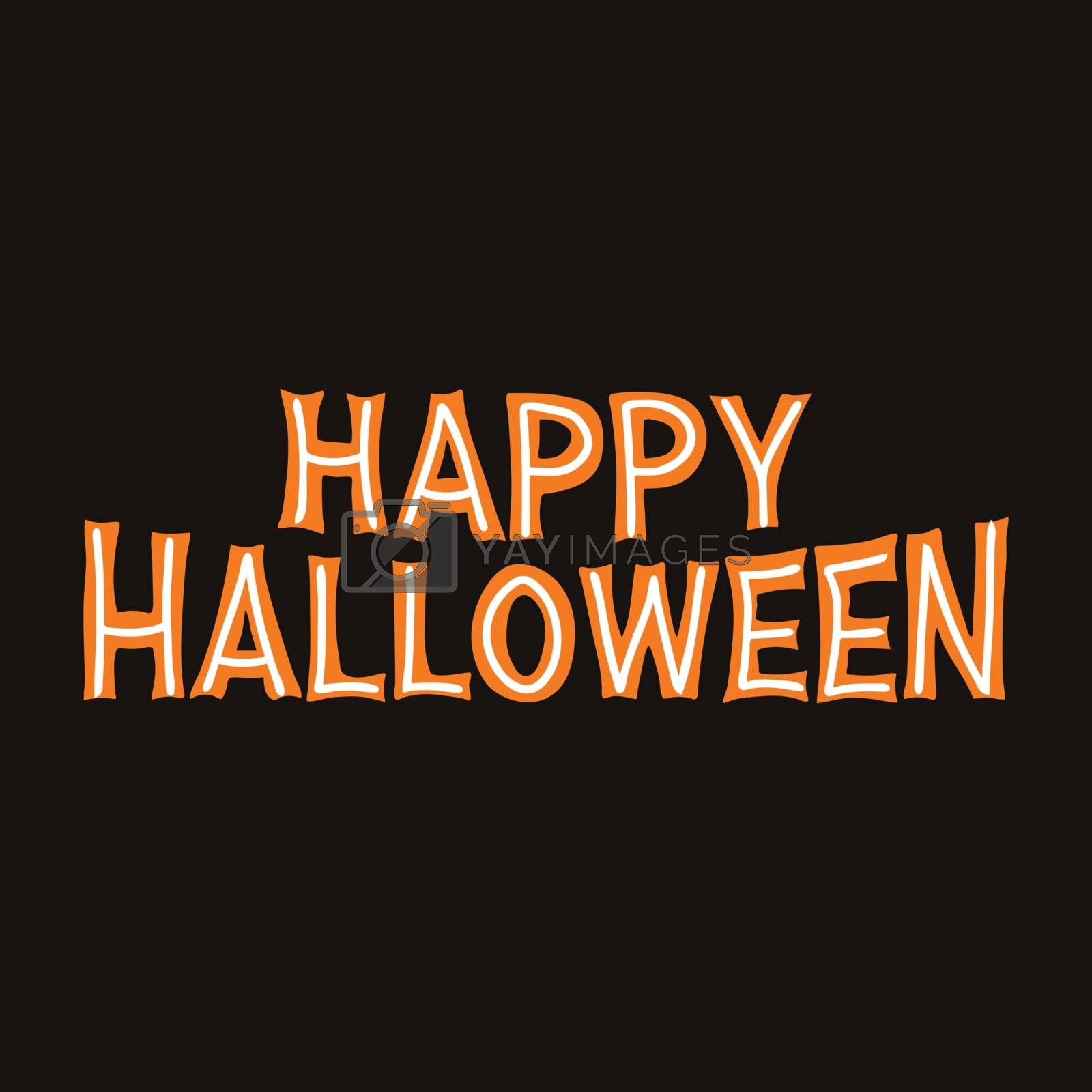 Happy Halloween. Orange lettering with white lines on dark background. Vector stock illustration.