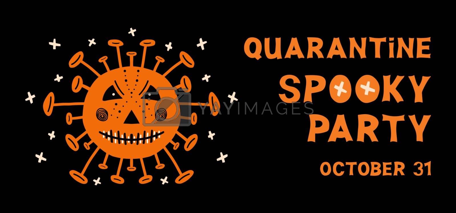 Halloween flyer. Coronavirus bacteria with scary face and orange lettering on dark background. Vector stock illustration.
