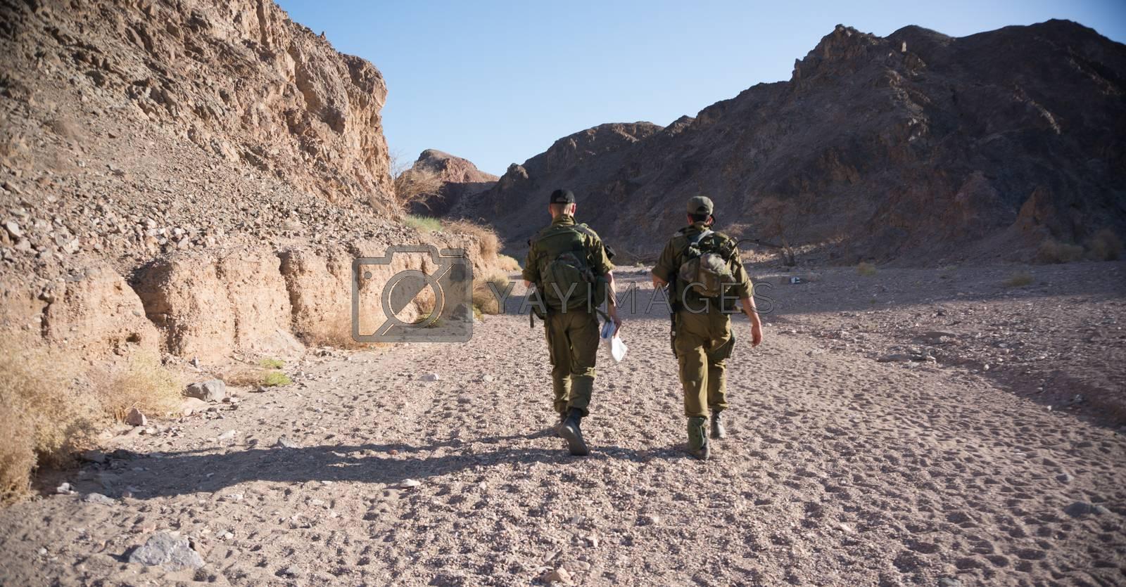 Israeli army patrol in middle east war