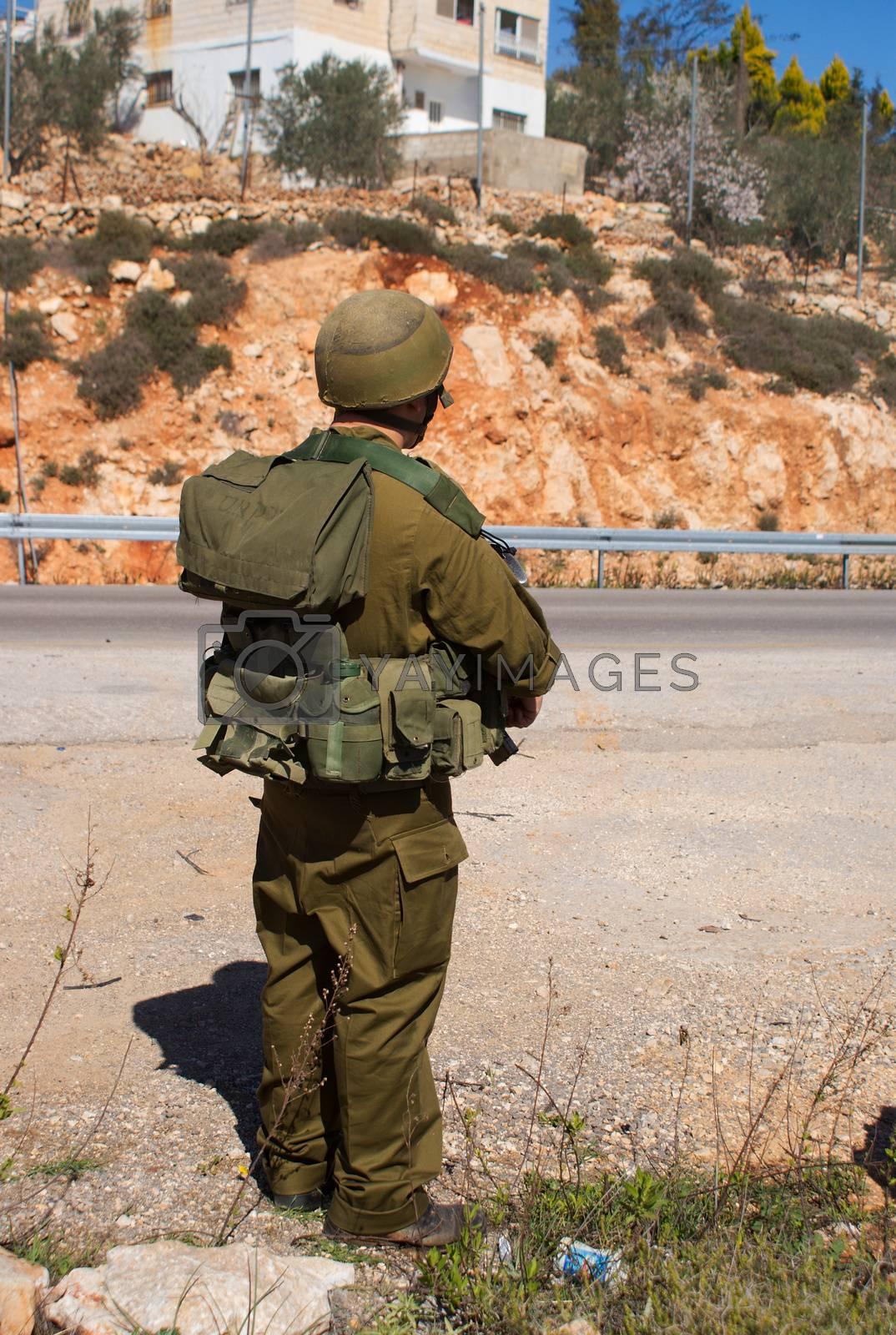Israeli soldiers patrol in palestinian village by javax