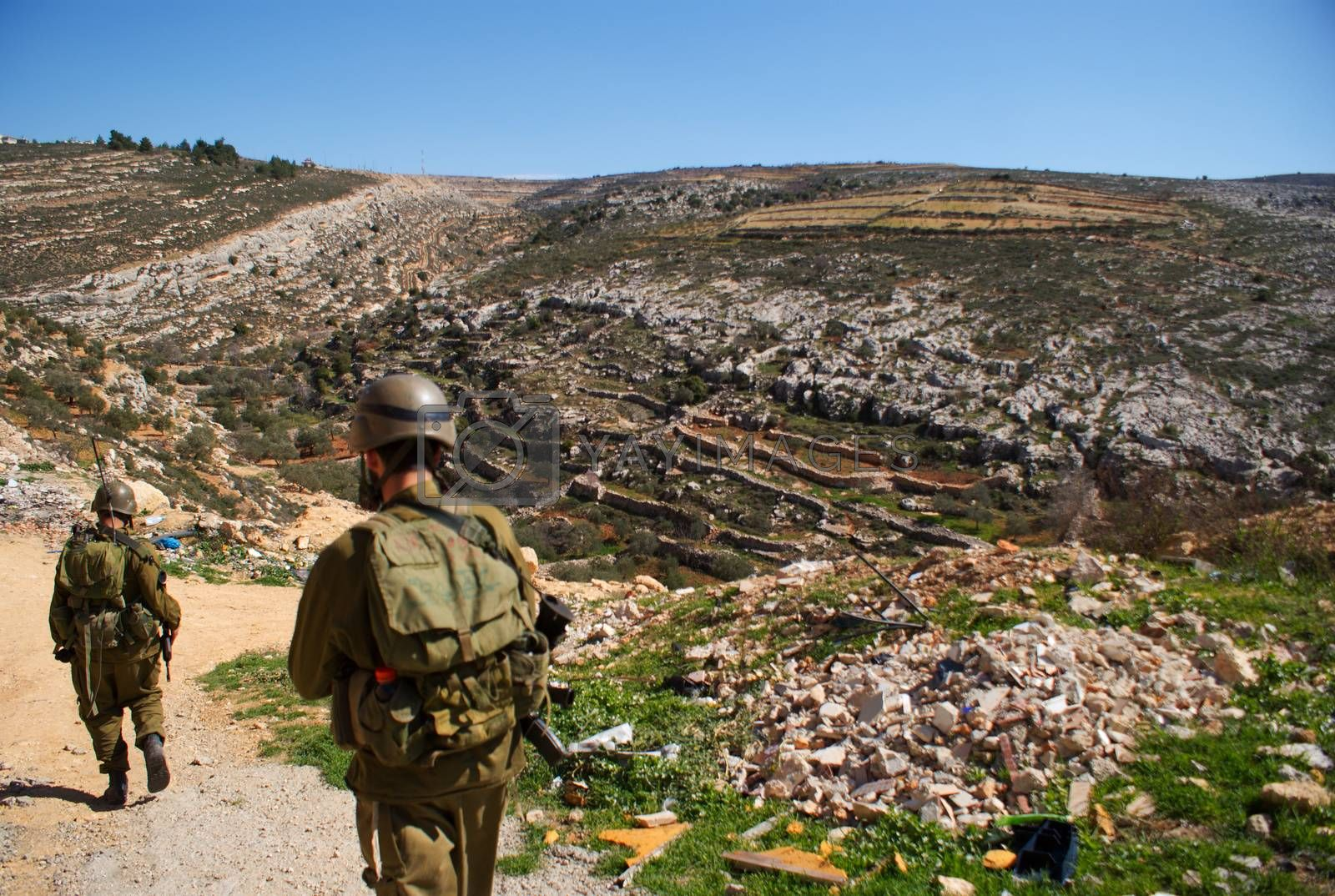 Israeli soldiers patrol in palestinian village by javax