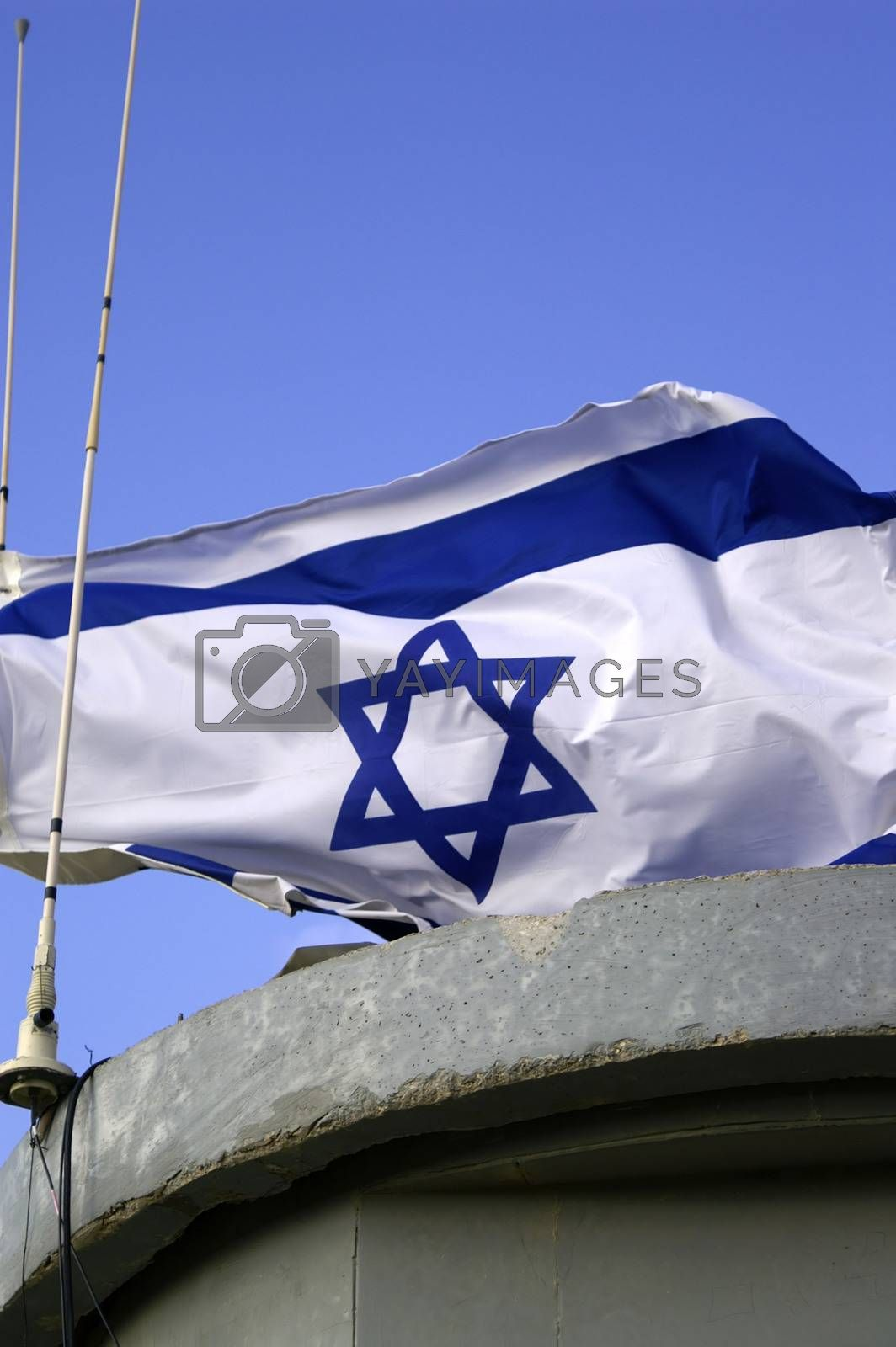 Israel state flag on an army post