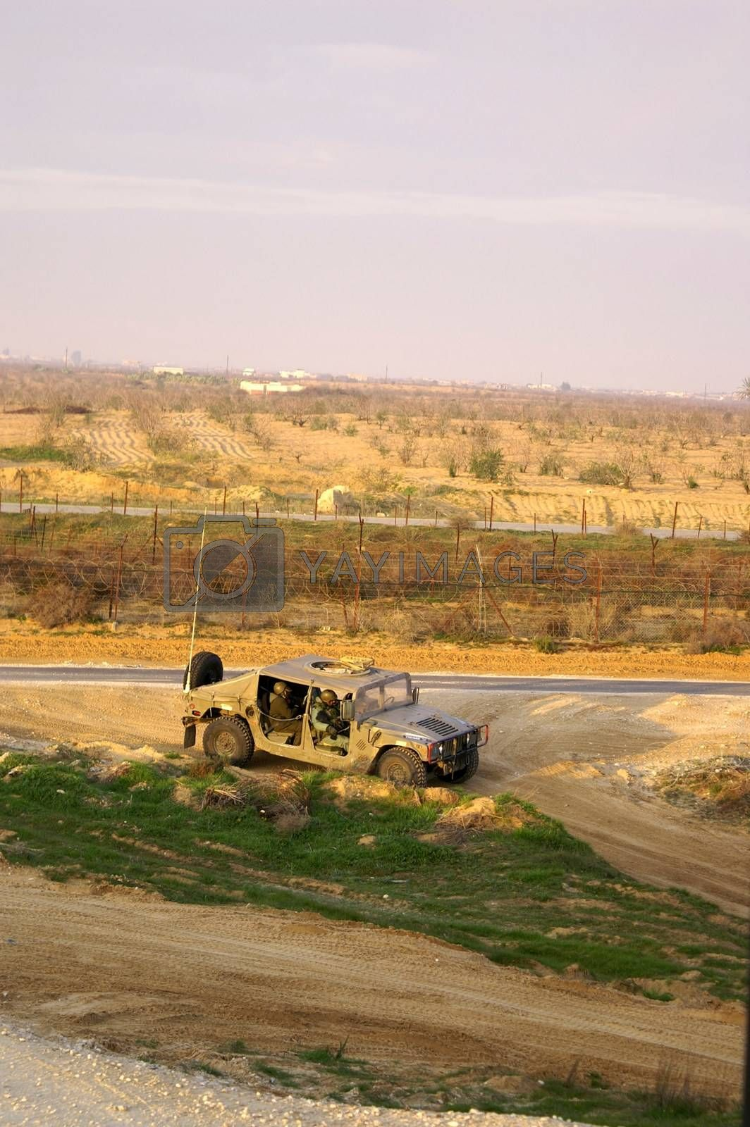 Israel army jeep near gaza border by javax
