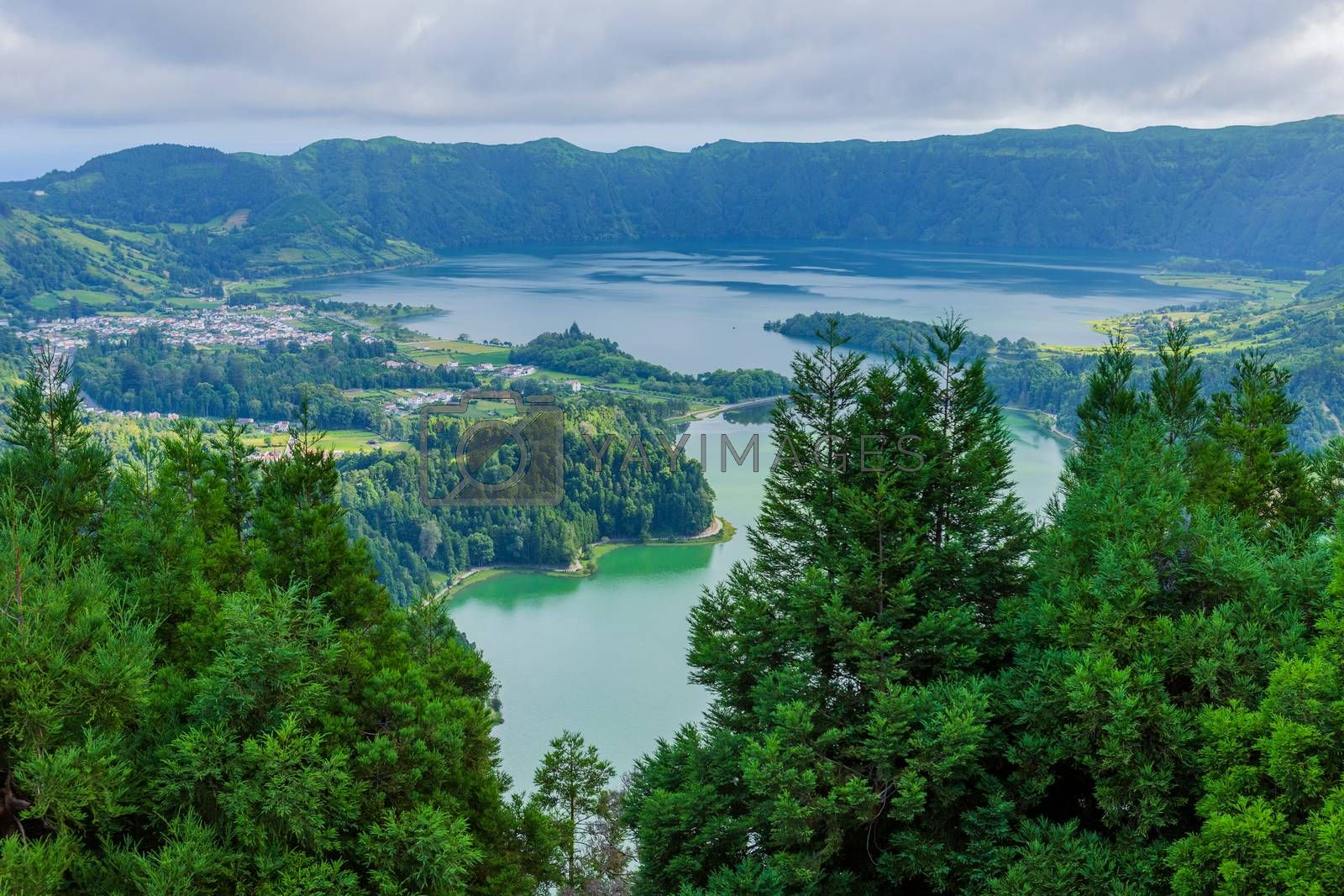 Picturesque view of the Lake of Sete Cidades, a volcanic crater lake on Sao Miguel island, Azores, Portugal