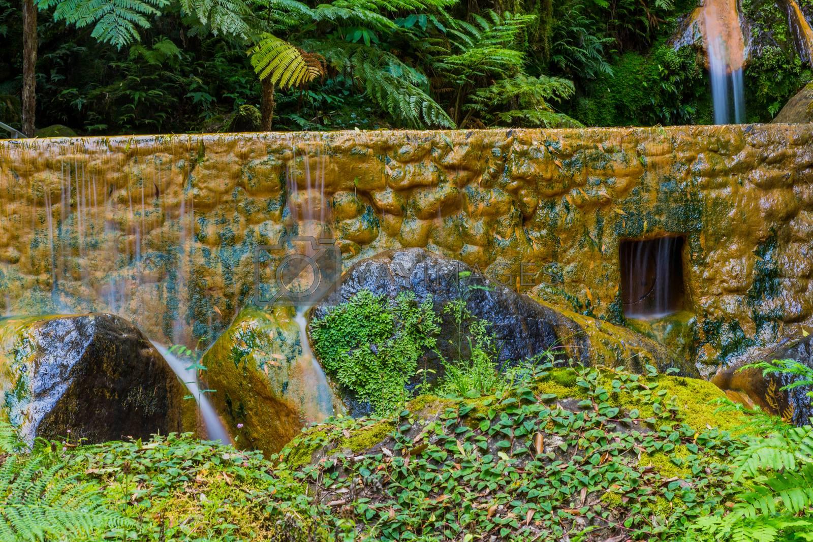 Waterfall in Caldeira Velha, ribeira grande, Natural Spa, Sao Miguel, Azores, Portugal