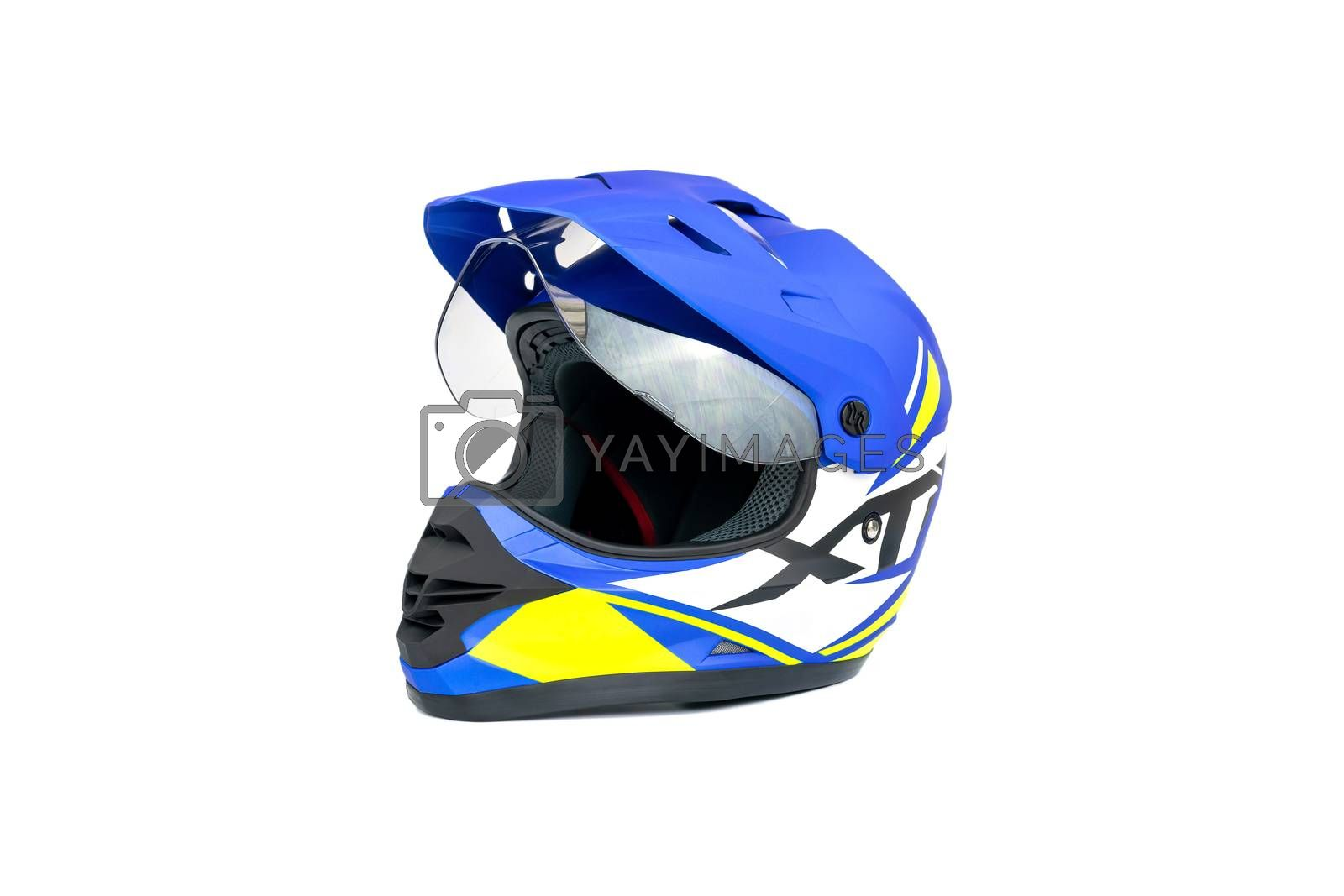 Multi colored motocross helmet isolated on white background.