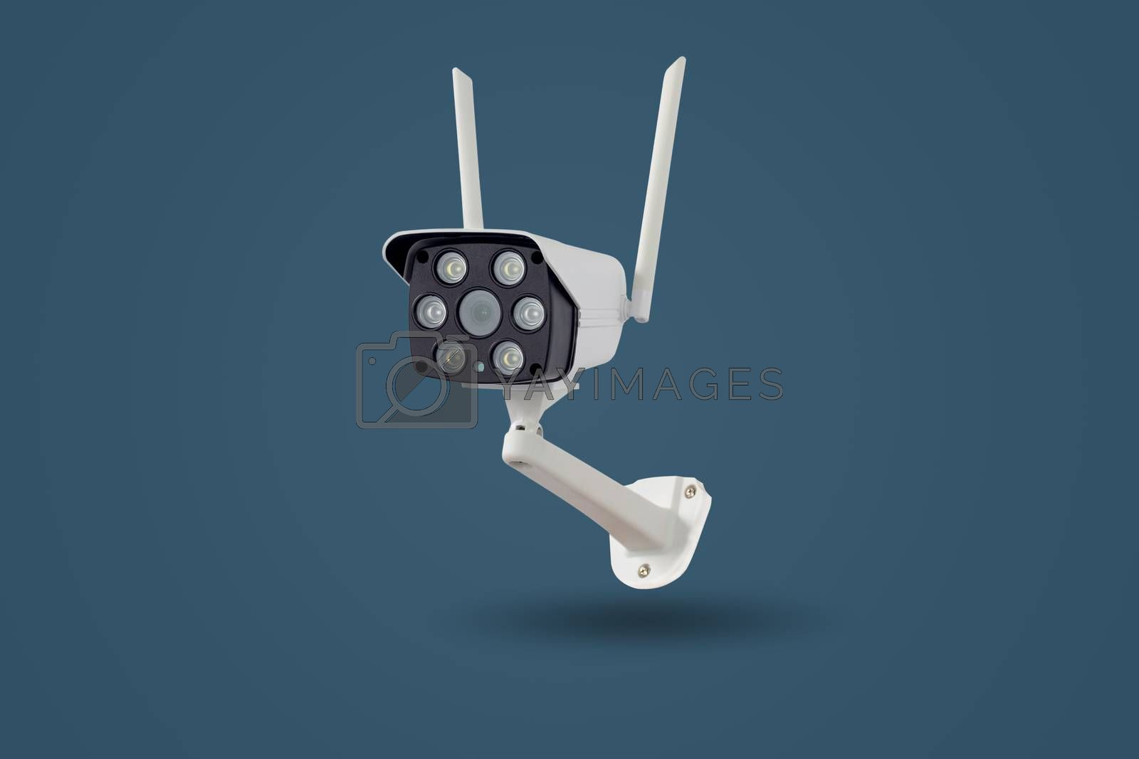 Waterproof outdoors wireless CCTV camera isolated on pastel colors background.