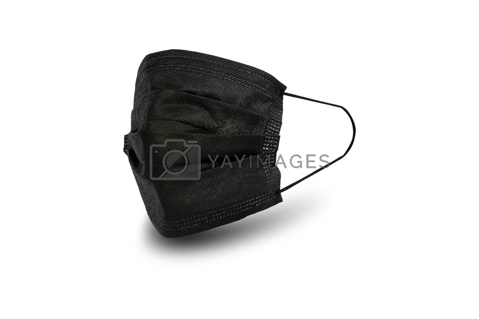 Black sanitary napkin mask for preventing spreading and respiratory infections isolated on white background, Social distancing and stop Coronavirus Covid-19 concept.