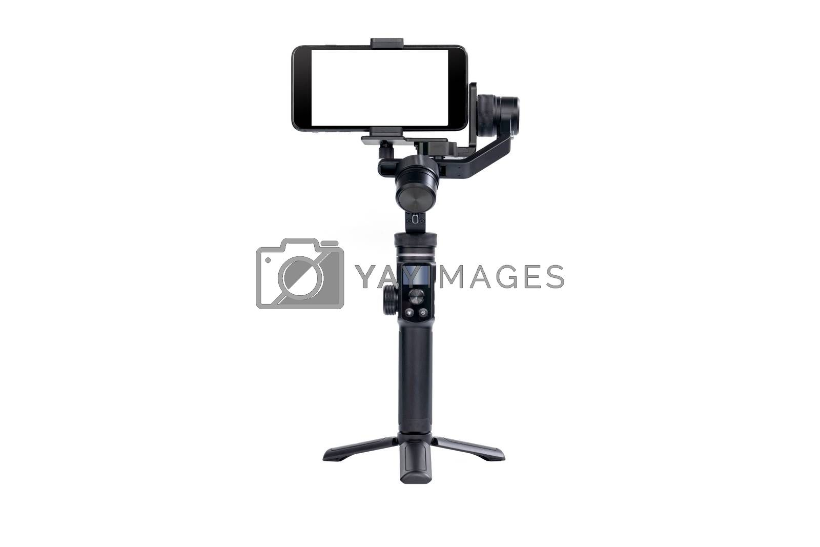 Mobile phone is mounted on a 3-axis motor stabilizer for smooth video recording isolated on white background.