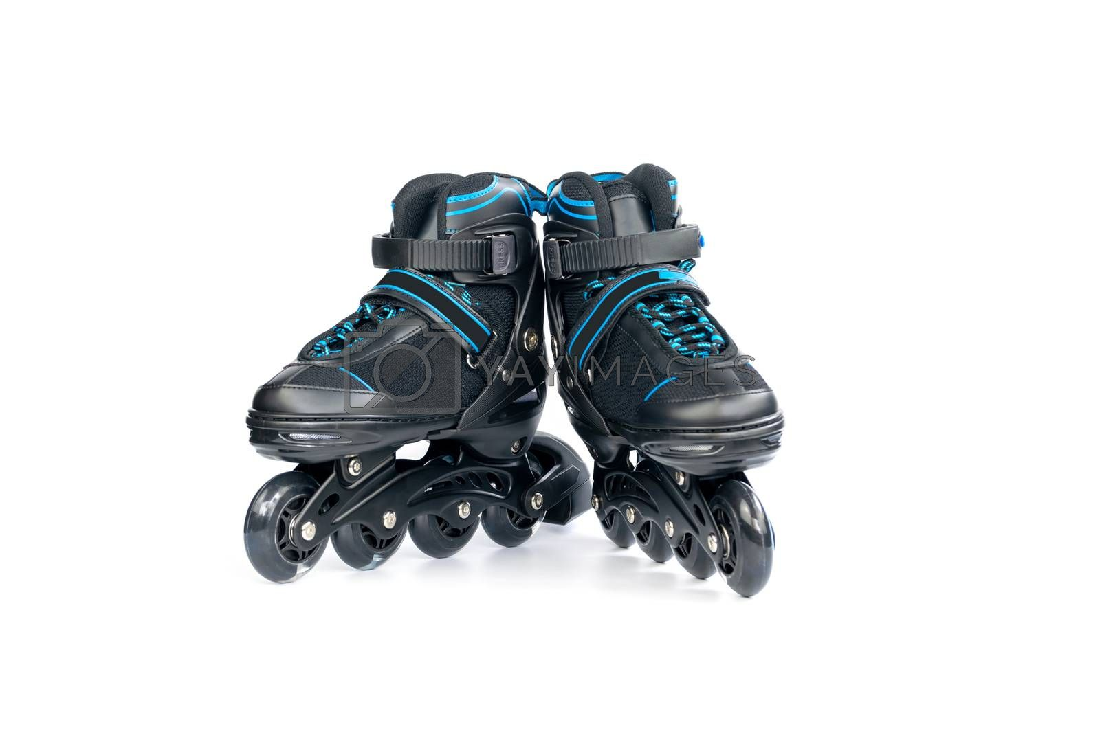 Pair of children's new inline skates isolated on white background.