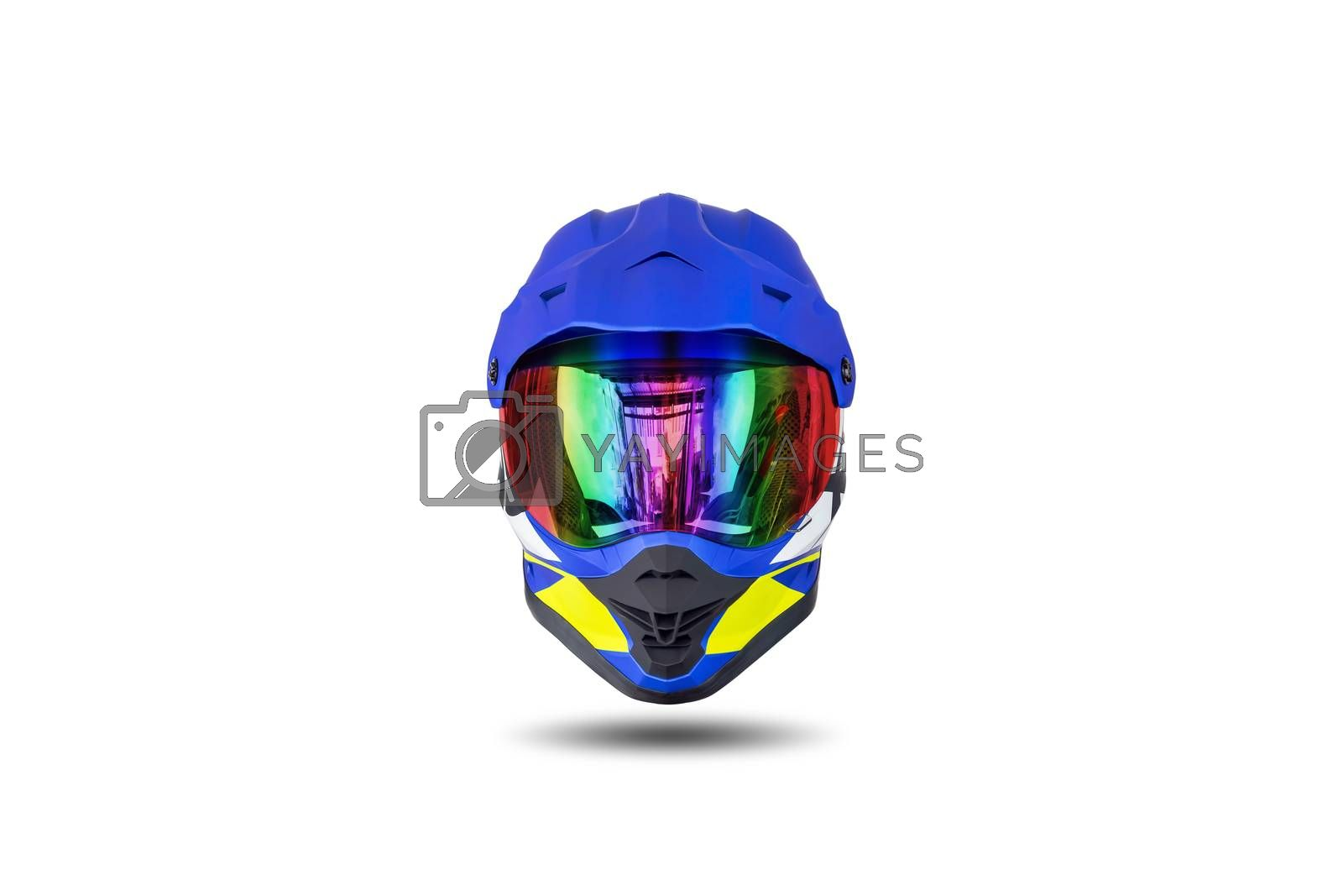 Front view of a multi colored motocross helmet isolated on white background.