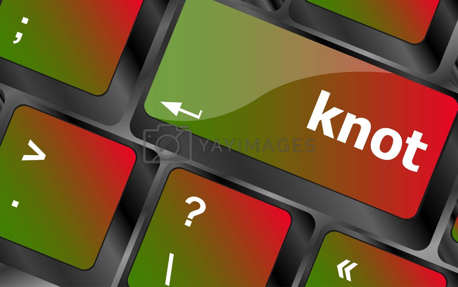 knot word on computer keyboard keys. laptop button