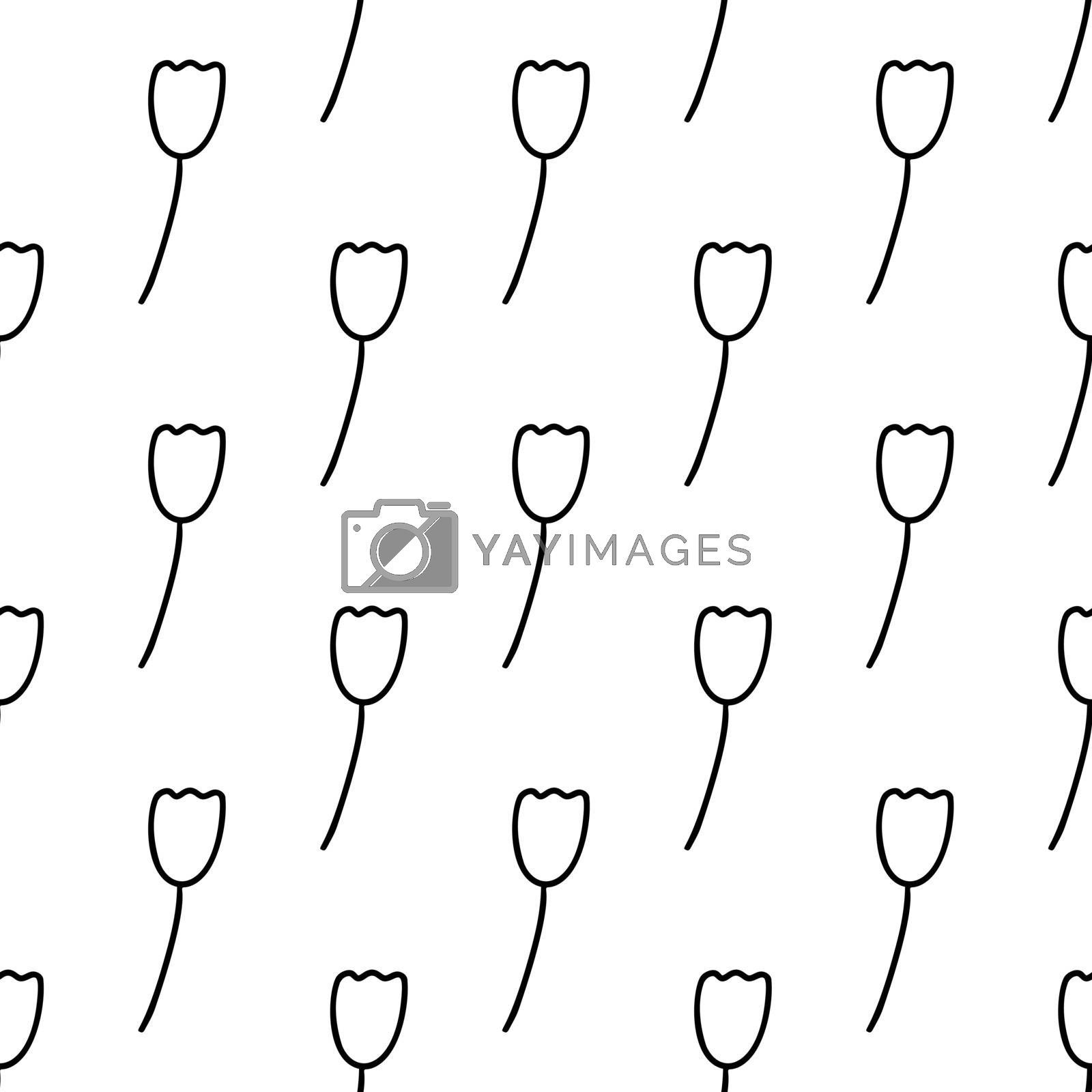 Seamless pattern made from doodle tulip flower. Isolated on white. Vector stock illustration.