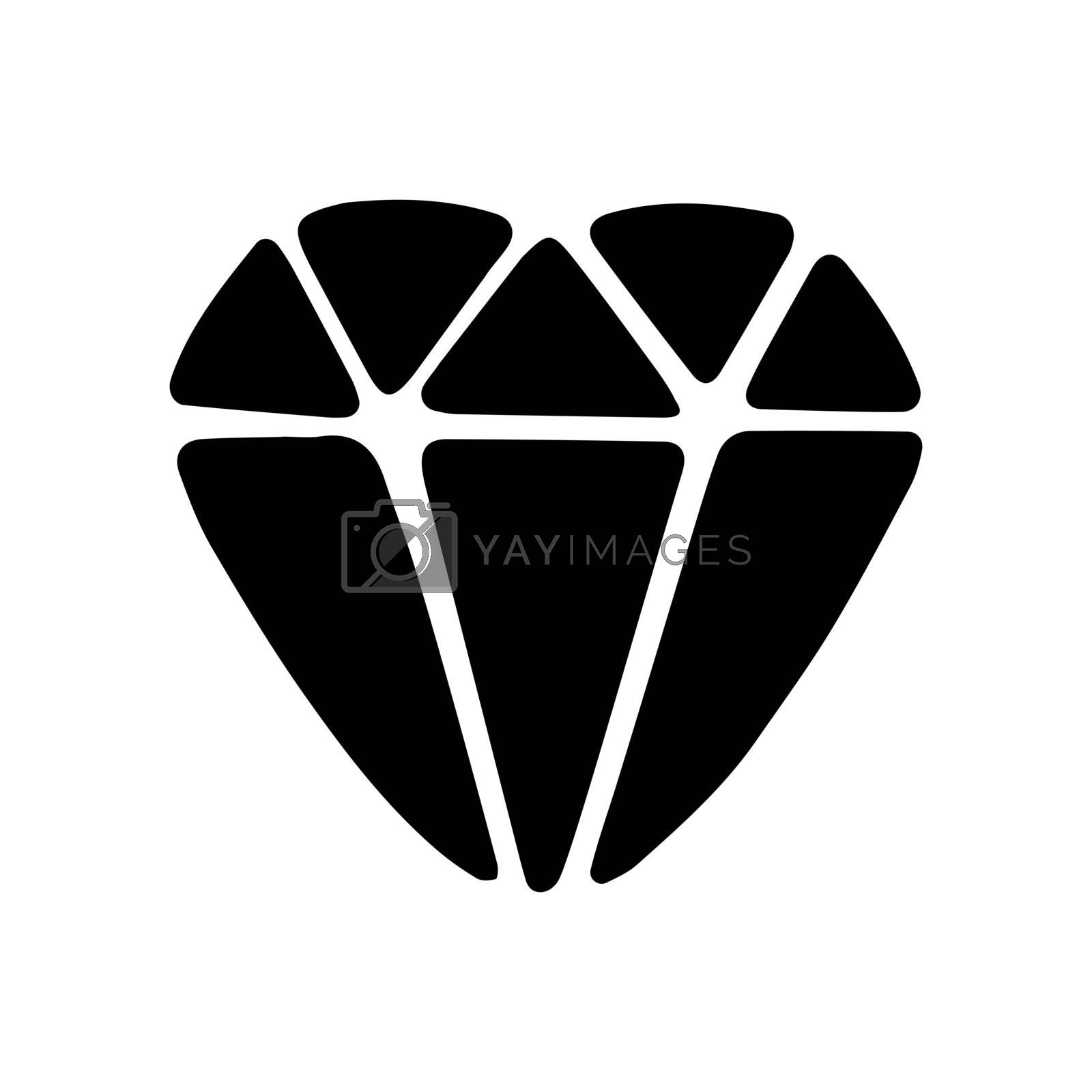 Cute hand drawn doodle simple diamond icon. Isolated on white. Vector stock illustration.