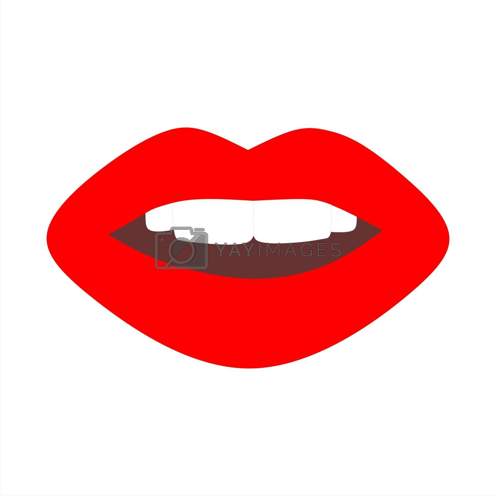 Trendy red lips. Isolated illustration on white. Vector stock illustration.