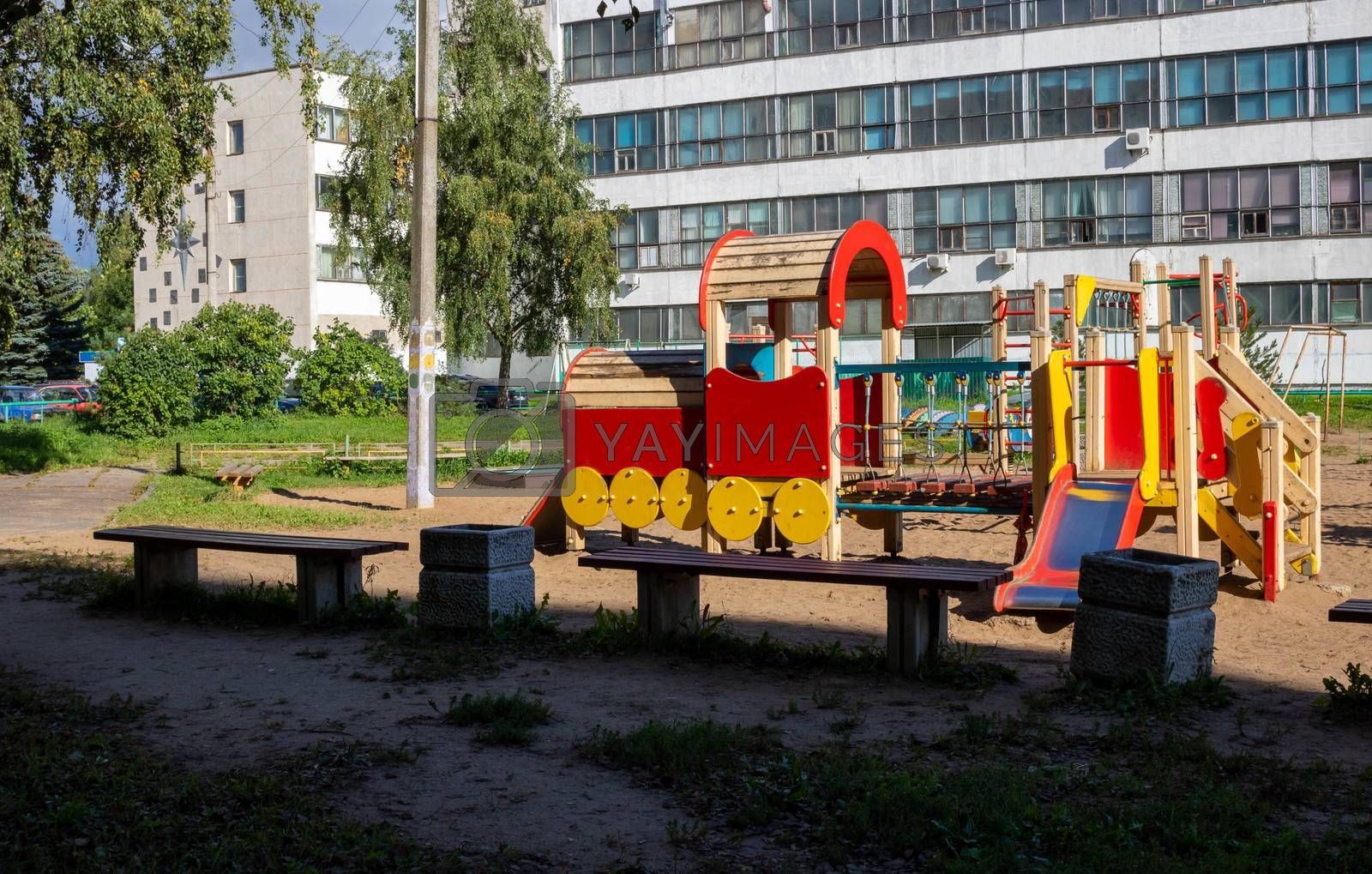 Empty beautiful modern Playground with steam train in the Park children's concept of outdoor activities.
