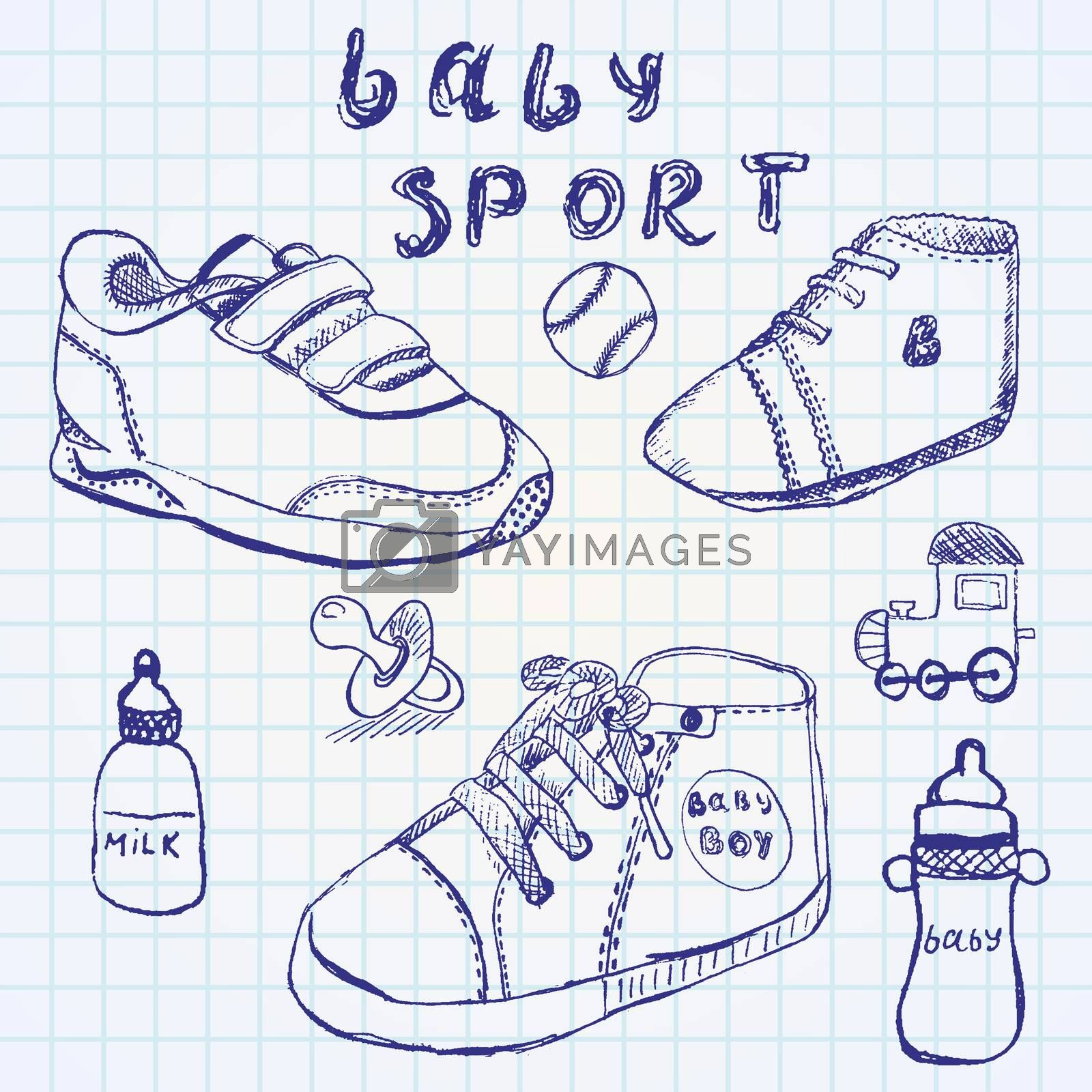 Baby shoes set sketch handdrawn on notebook paper.