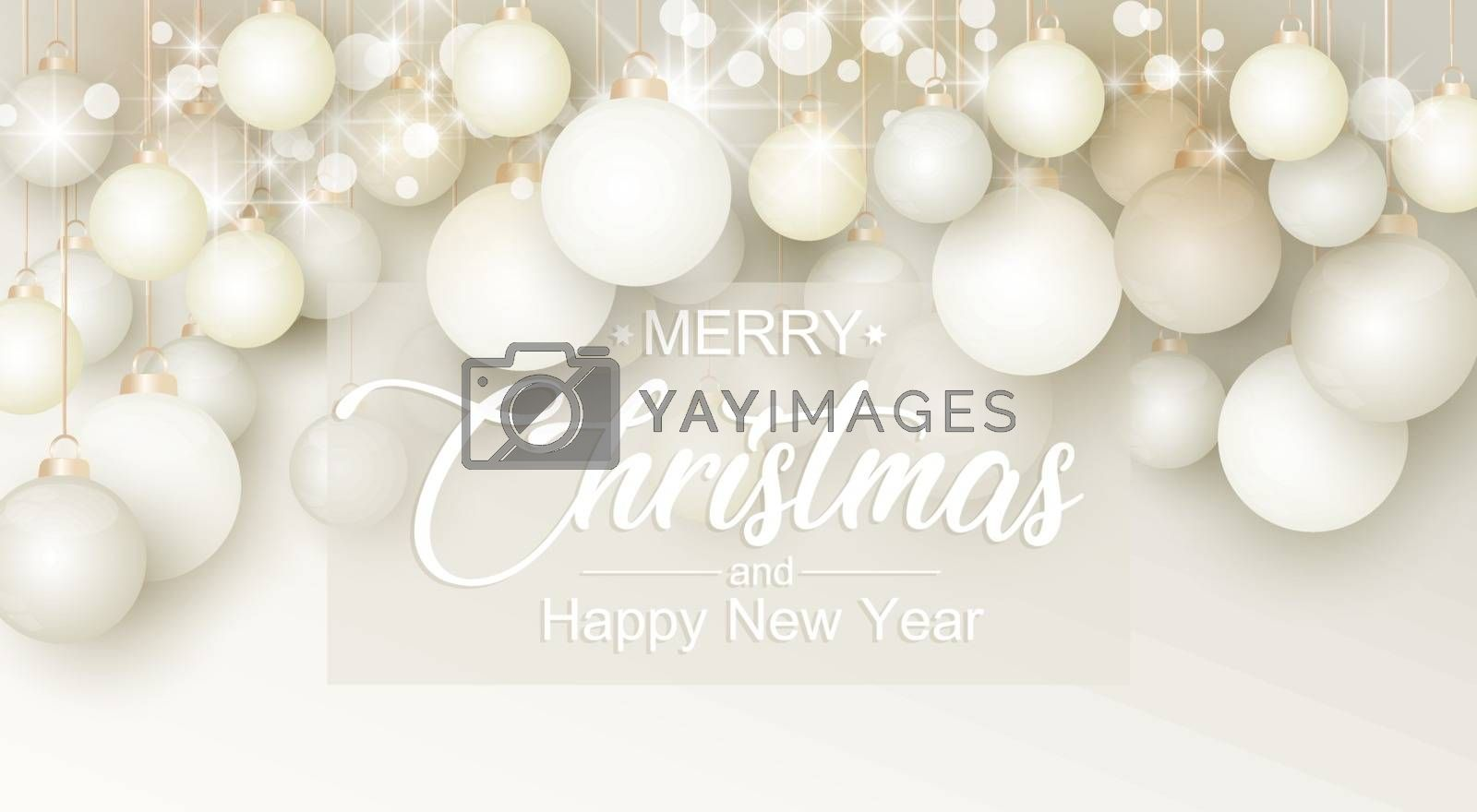 Vector illustration of Christmas balls. Christmas decoration background. Merry Christmas and Happy New Year