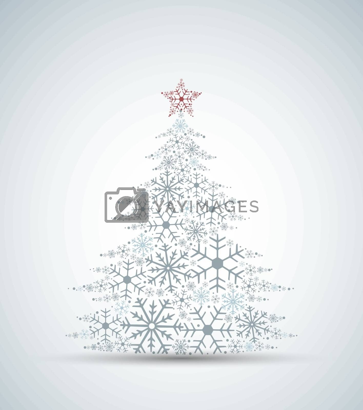 Vector illustration of a Christmas tree. Christmas tree made of snowflakes. Merry Christmas and Happy New Year