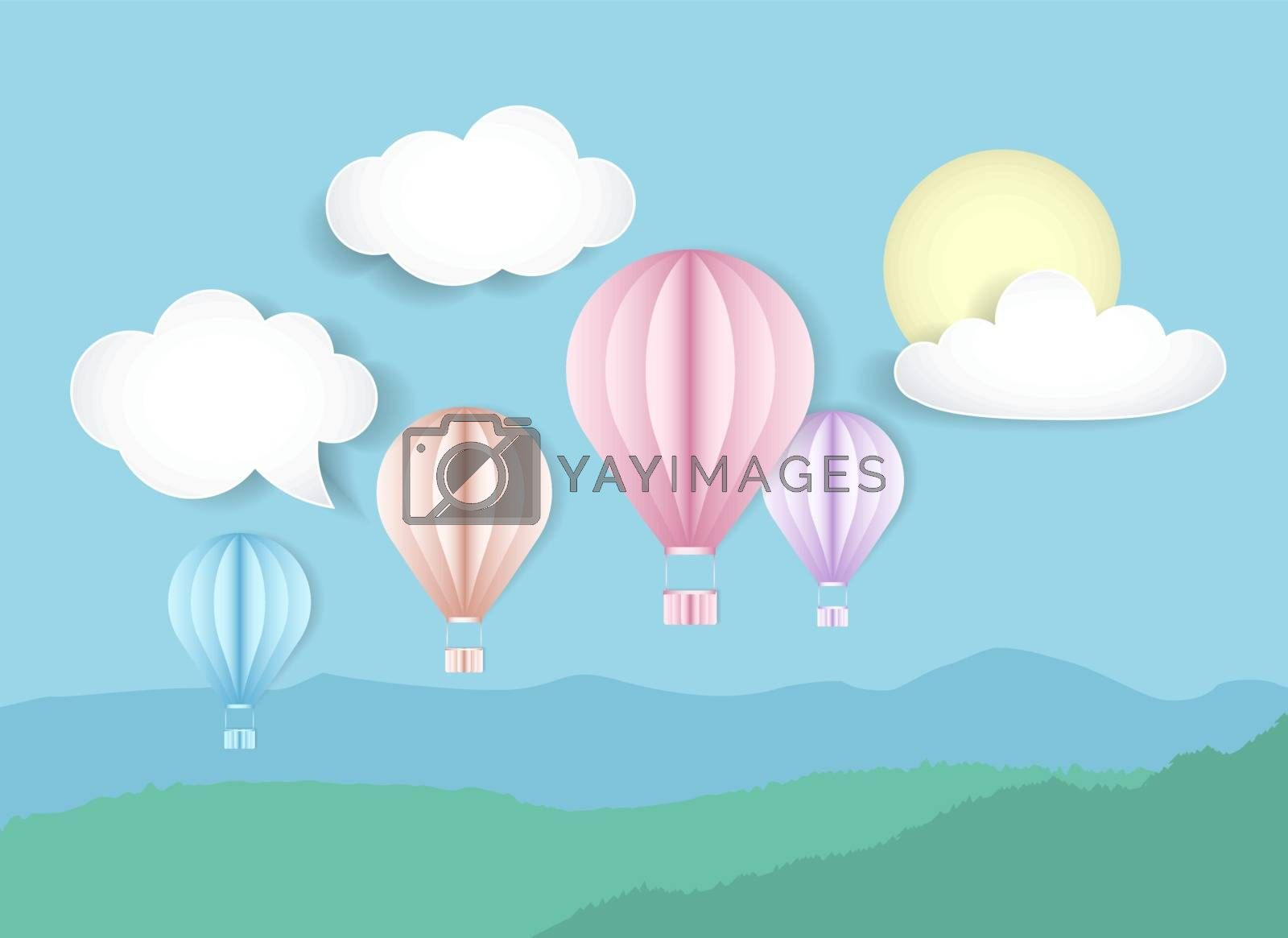 Vector illustration of sky with hot air balloons. Natural background with landscape with clouds and sun