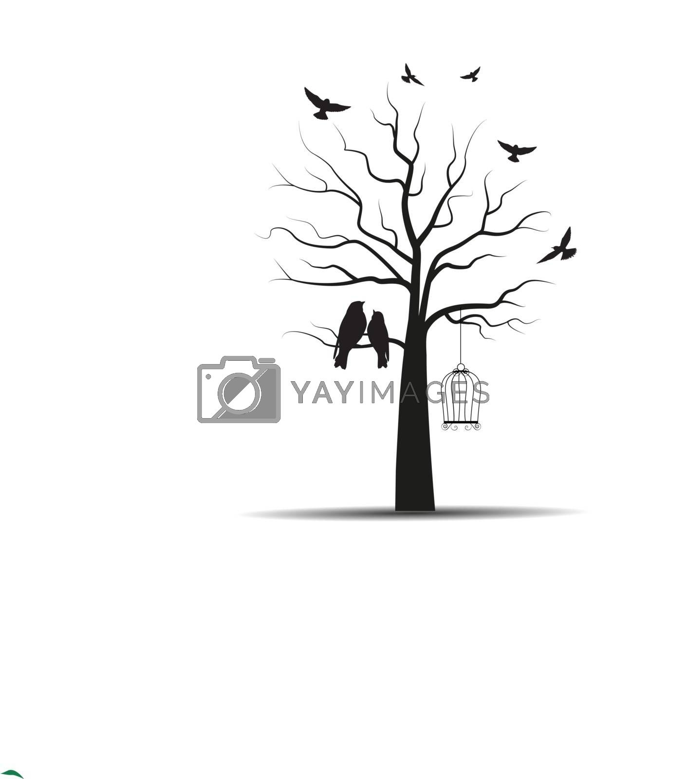 Vector illustration of a tree with cages and birds.