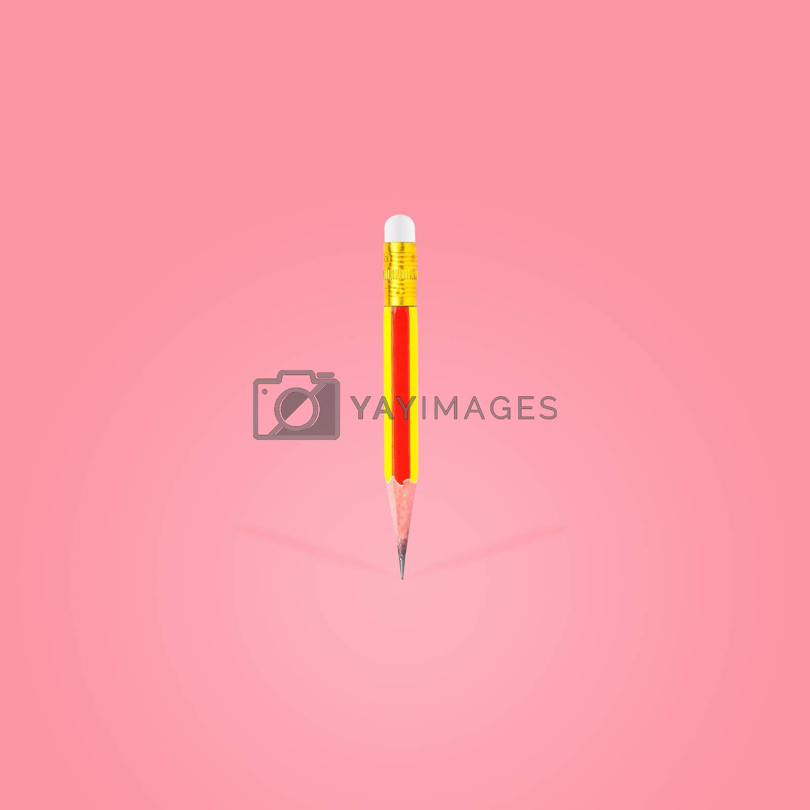 Short-sharpened wooden pencil and eraser isolated on beautiful pastel color background, with clipping path.