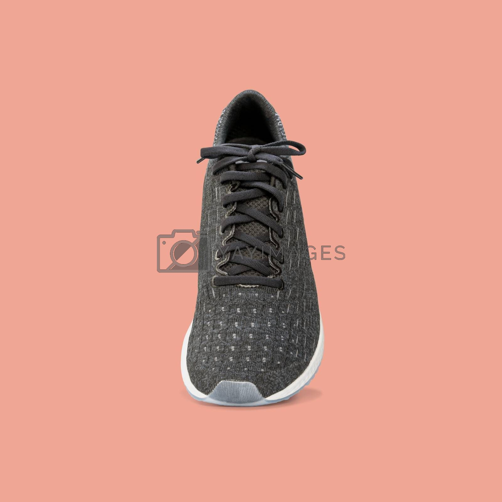 Fashion running sneaker shoes isolated on beautiful pastel color background, with clipping path.
